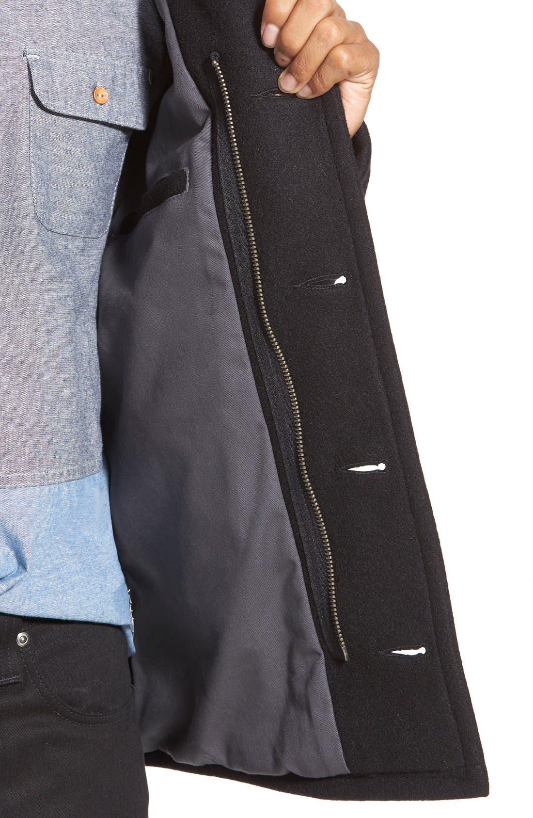 Slim Fit Wool Military Jacket,                             Alternate thumbnail 5, color,                             001