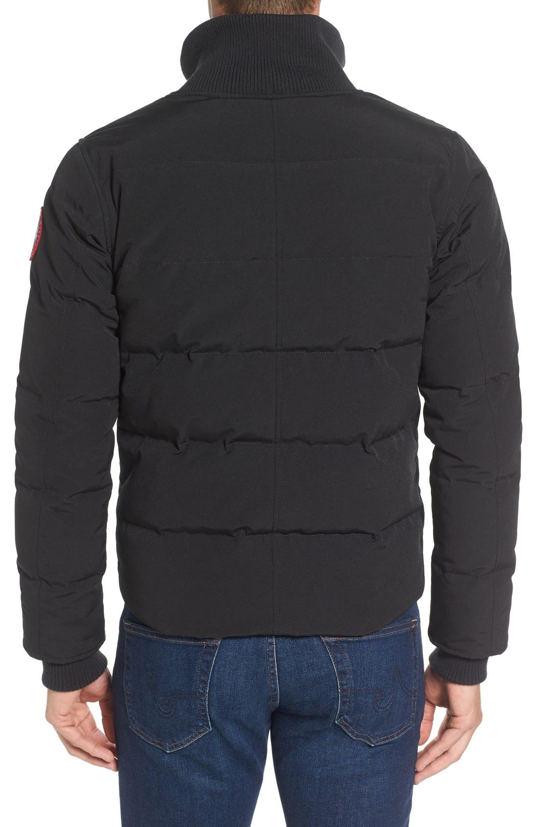'Woolford' Slim Fit Down Bomber Jacket,                             Alternate thumbnail 6, color,                             BLACK