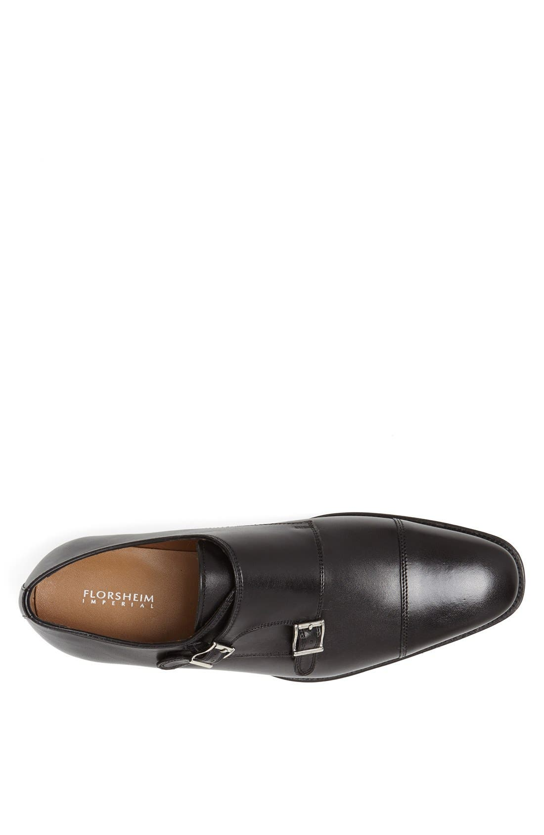 'Classico' Double Monk Strap Slip-On,                             Alternate thumbnail 3, color,                             BLACK