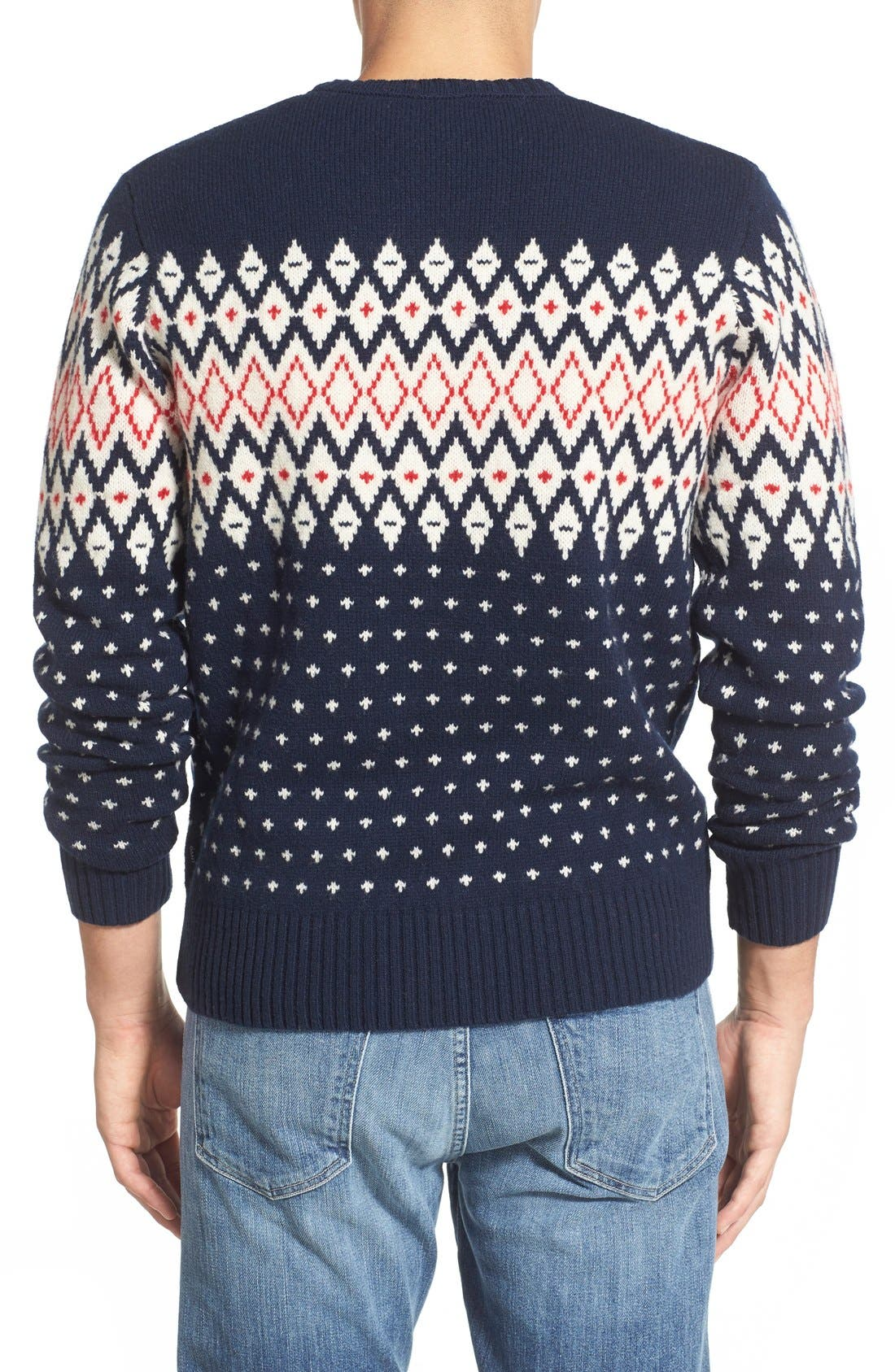 Lambswool Fair Isle Crewneck Sweater,                             Alternate thumbnail 4, color,