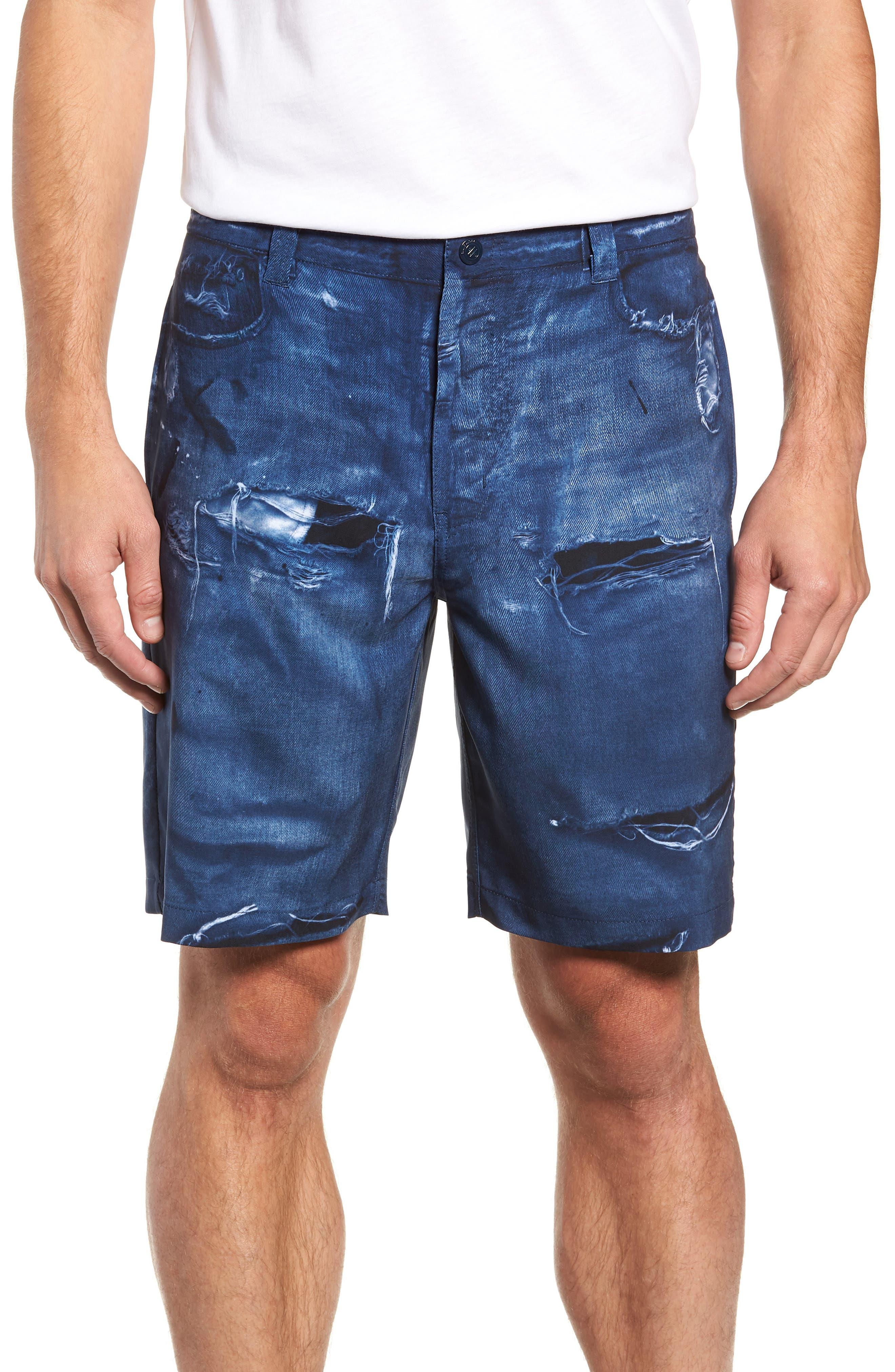 Man o' War Regular Fit Shorts,                             Main thumbnail 1, color,                             DENIM