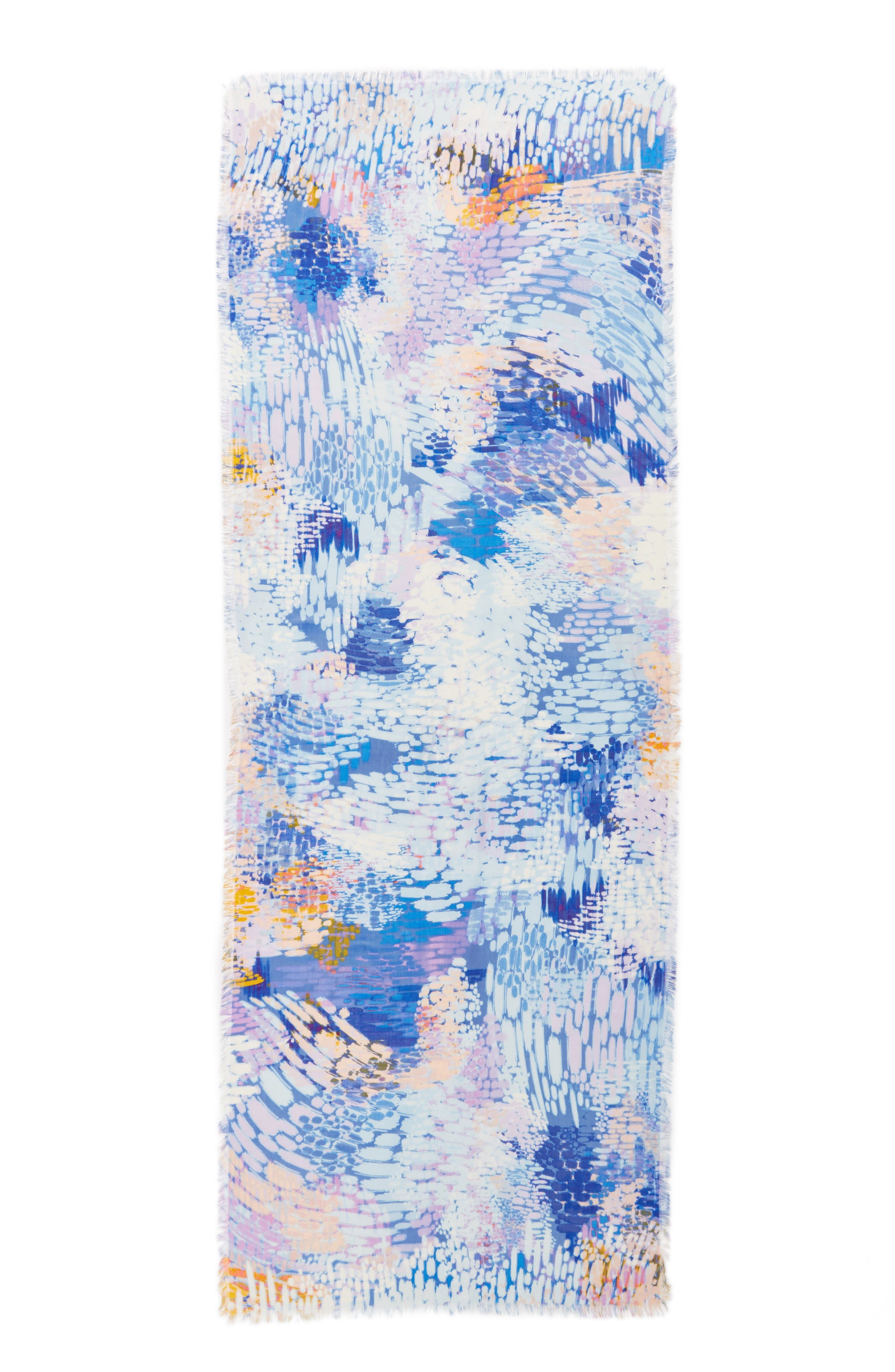 Eyelash Trim Print Cashmere & Silk Wrap,                             Alternate thumbnail 81, color,