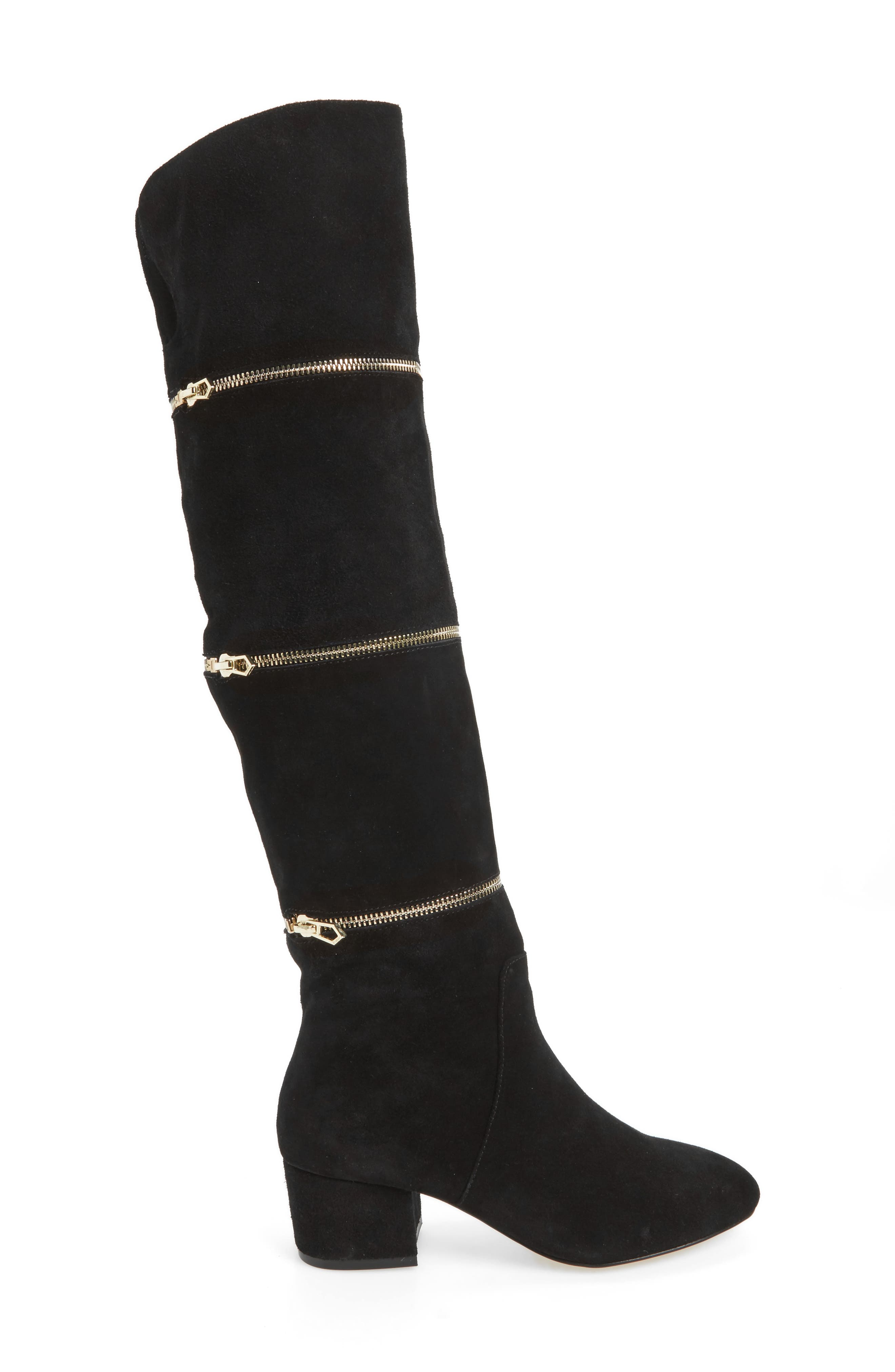 Grace Zip Over the Knee Boot,                             Alternate thumbnail 3, color,                             001