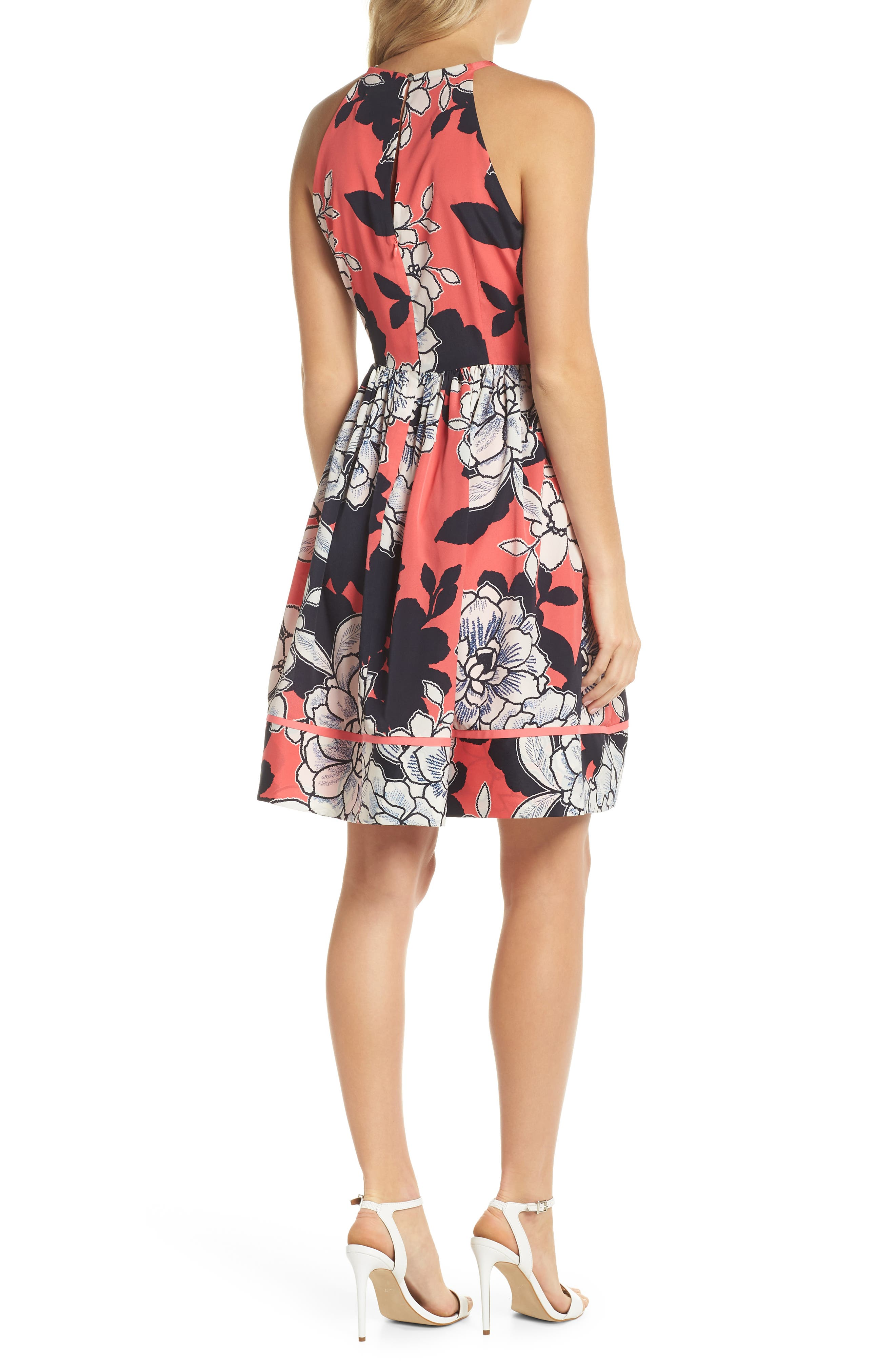 Floral Fit-and-Flare Dress,                             Alternate thumbnail 2, color,                             PINK MULTI