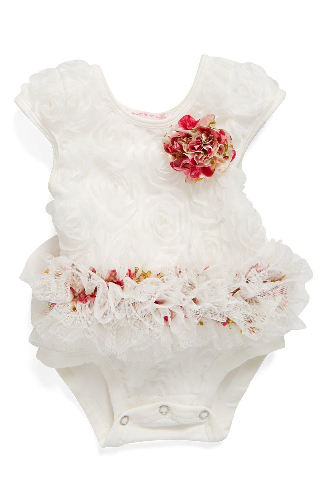 Floral Soutache Bodysuit,                             Main thumbnail 1, color,                             WHITE