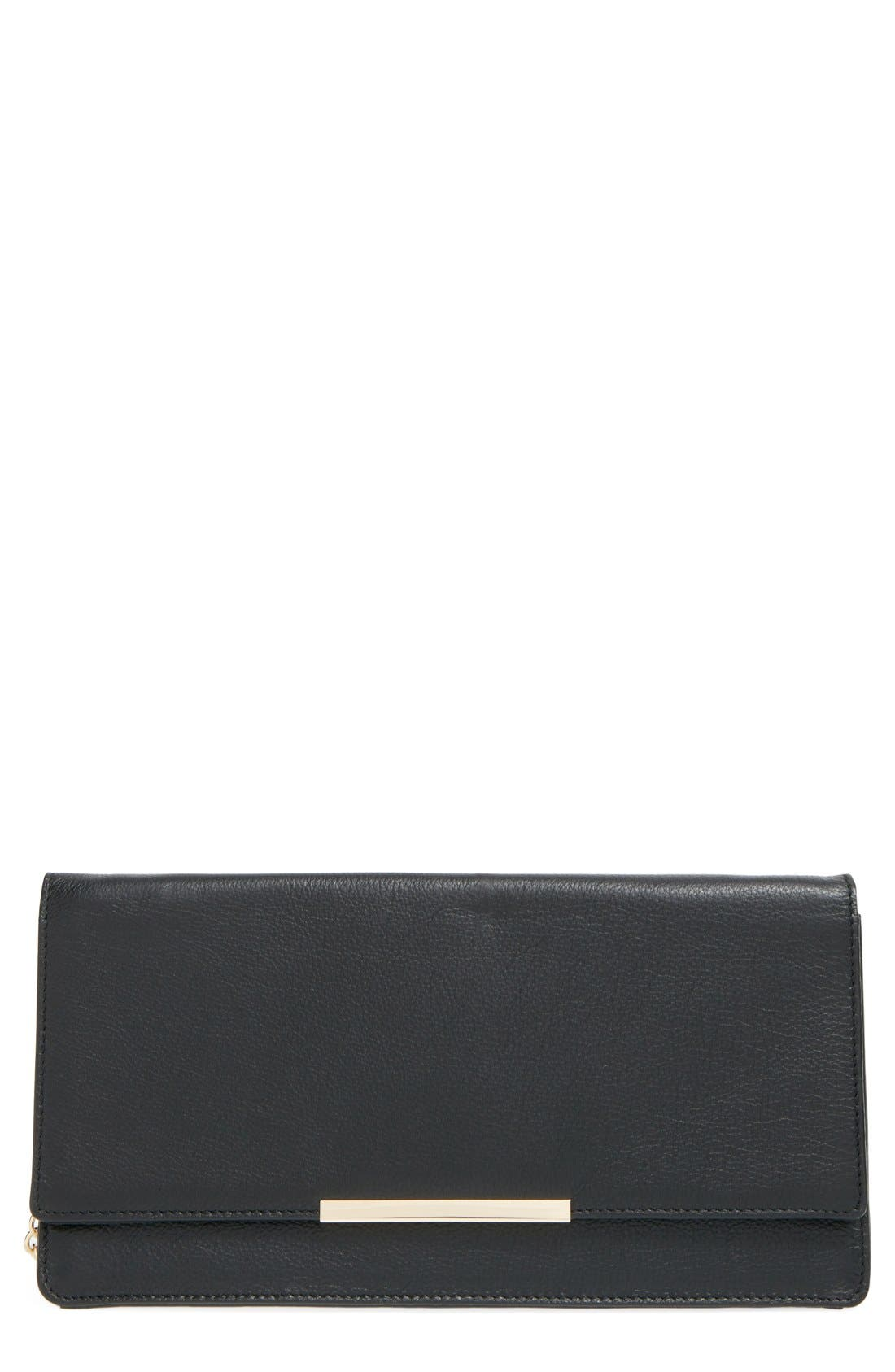 Leather Clutch,                         Main,                         color, 001