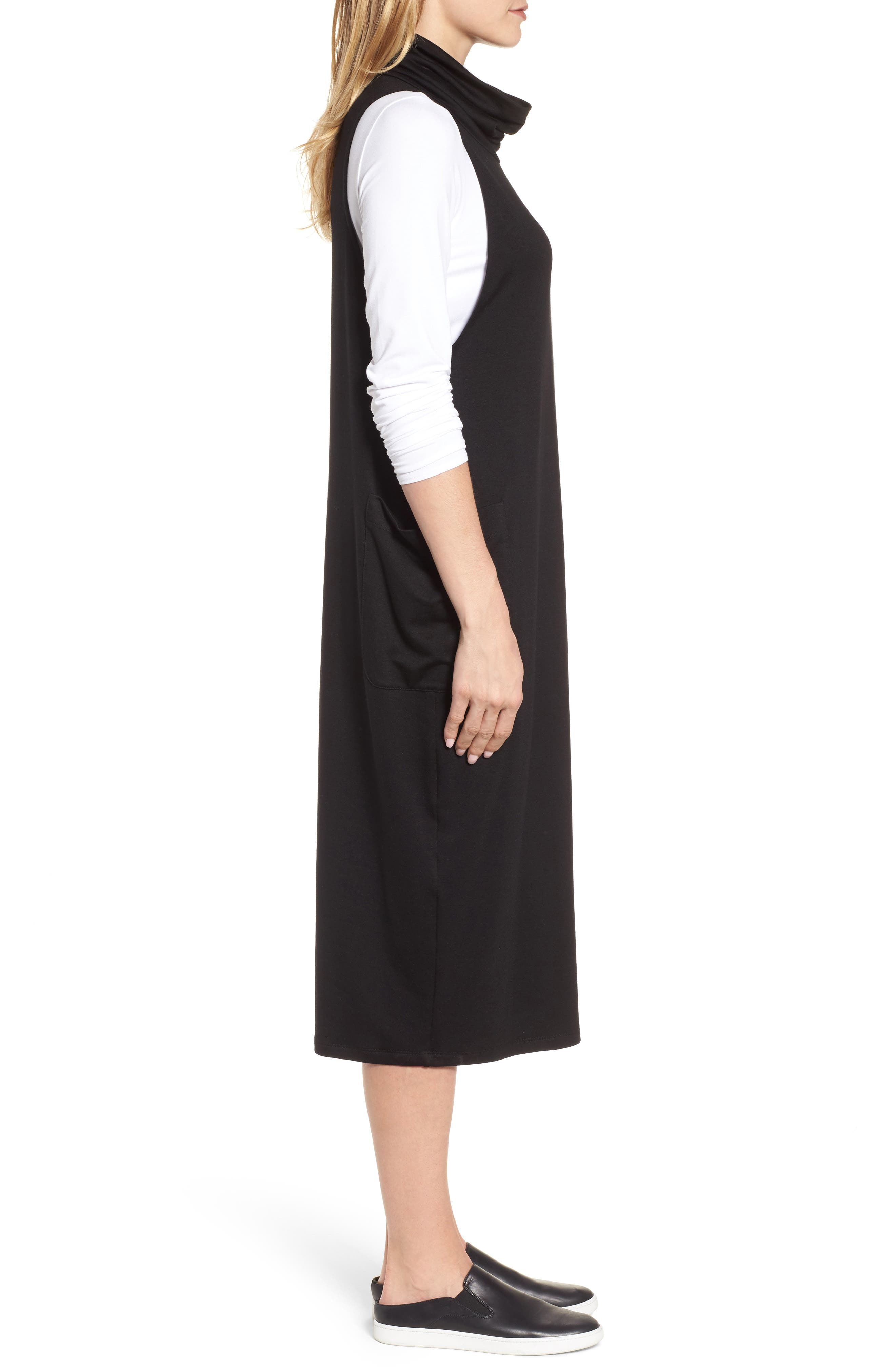 Stretch Tencel<sup>®</sup> Lyocell Knit Jumper Dress,                             Alternate thumbnail 3, color,                             001