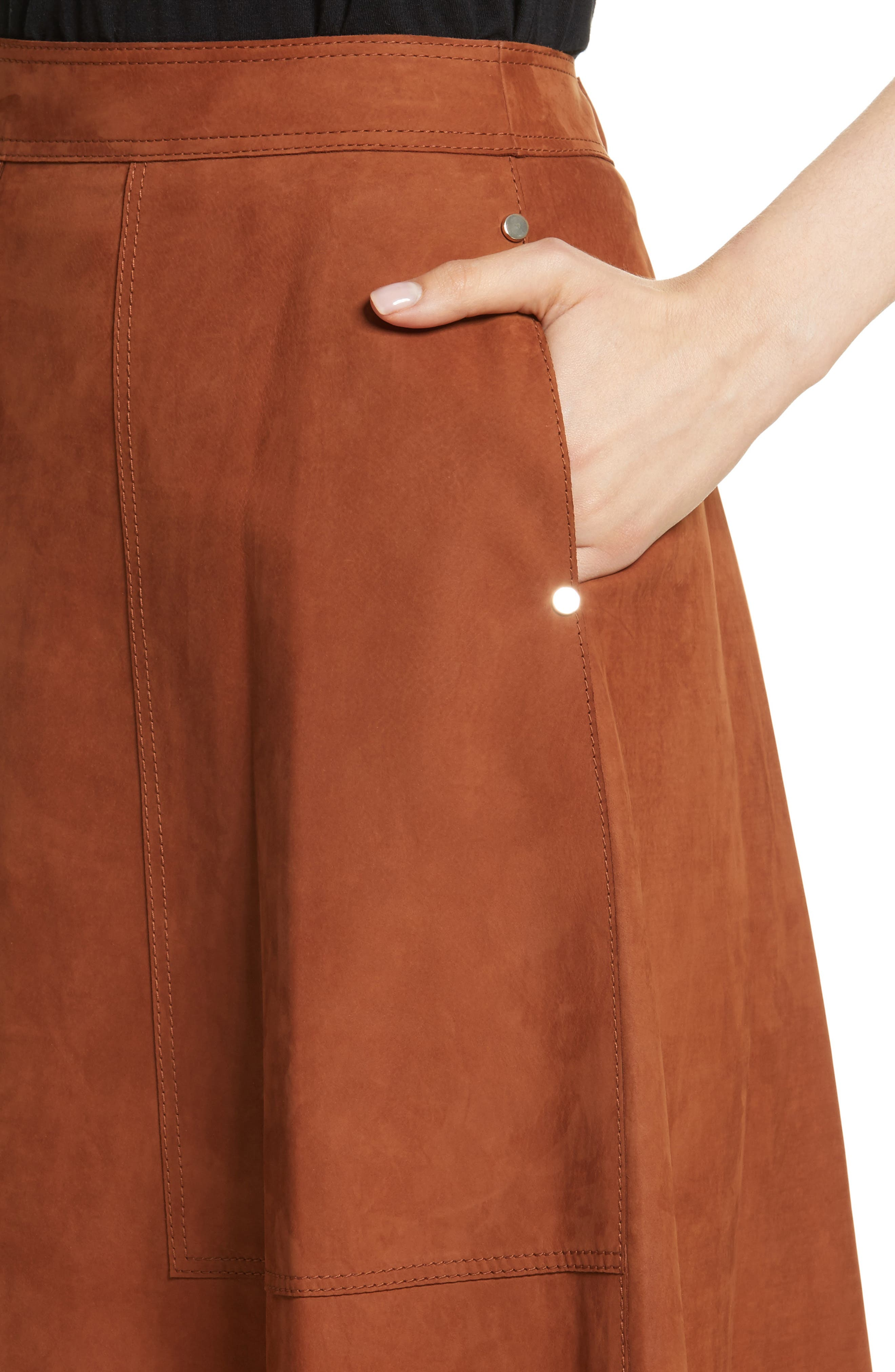 Rosella Leather Skirt,                             Alternate thumbnail 4, color,                             244