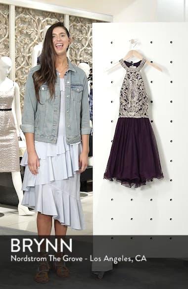 High Neck Appliqué Fit & Flare Dress, sales video thumbnail