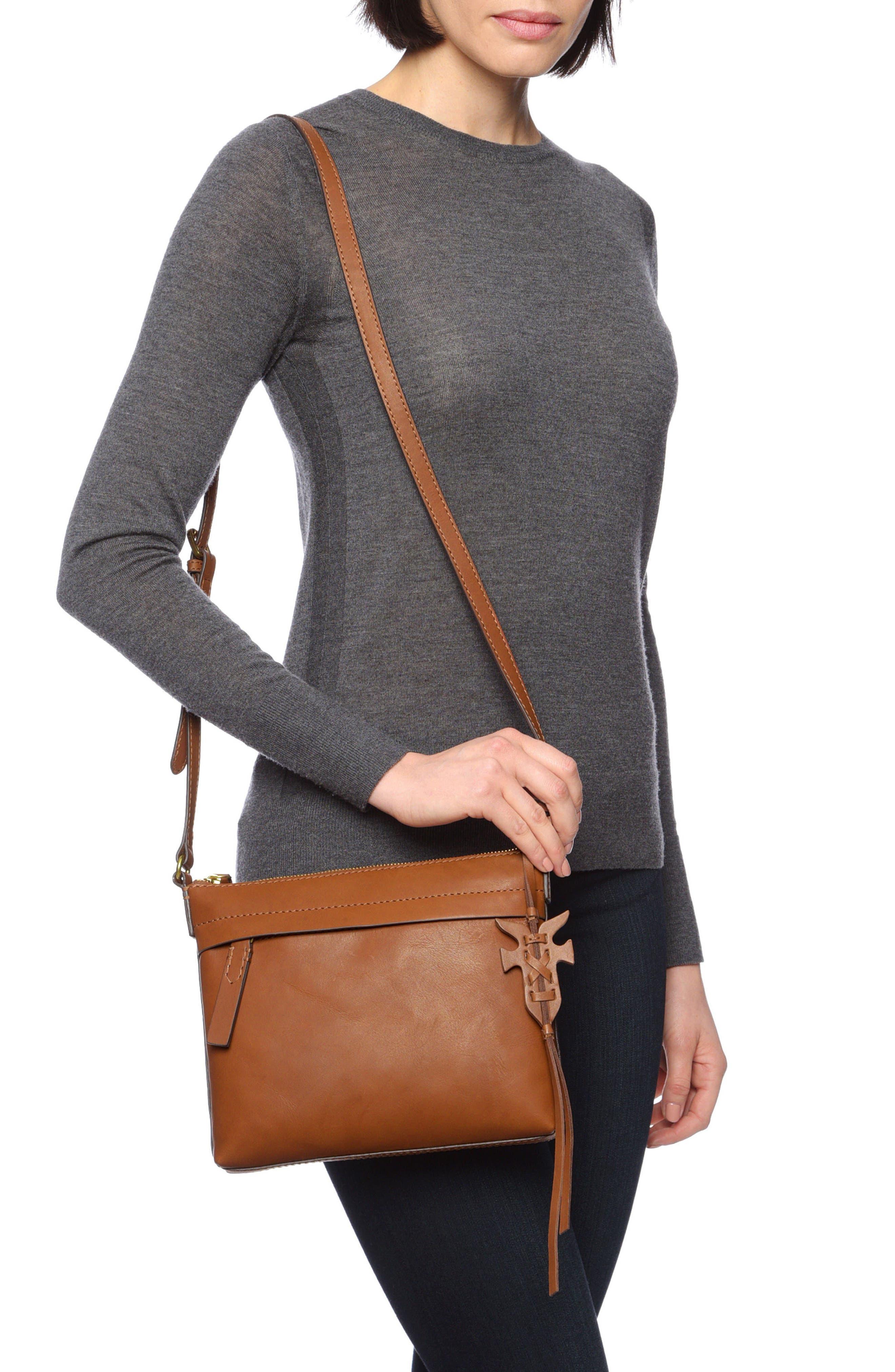 Carson Leather Crossbody Bag,                             Alternate thumbnail 2, color,                             COGNAC