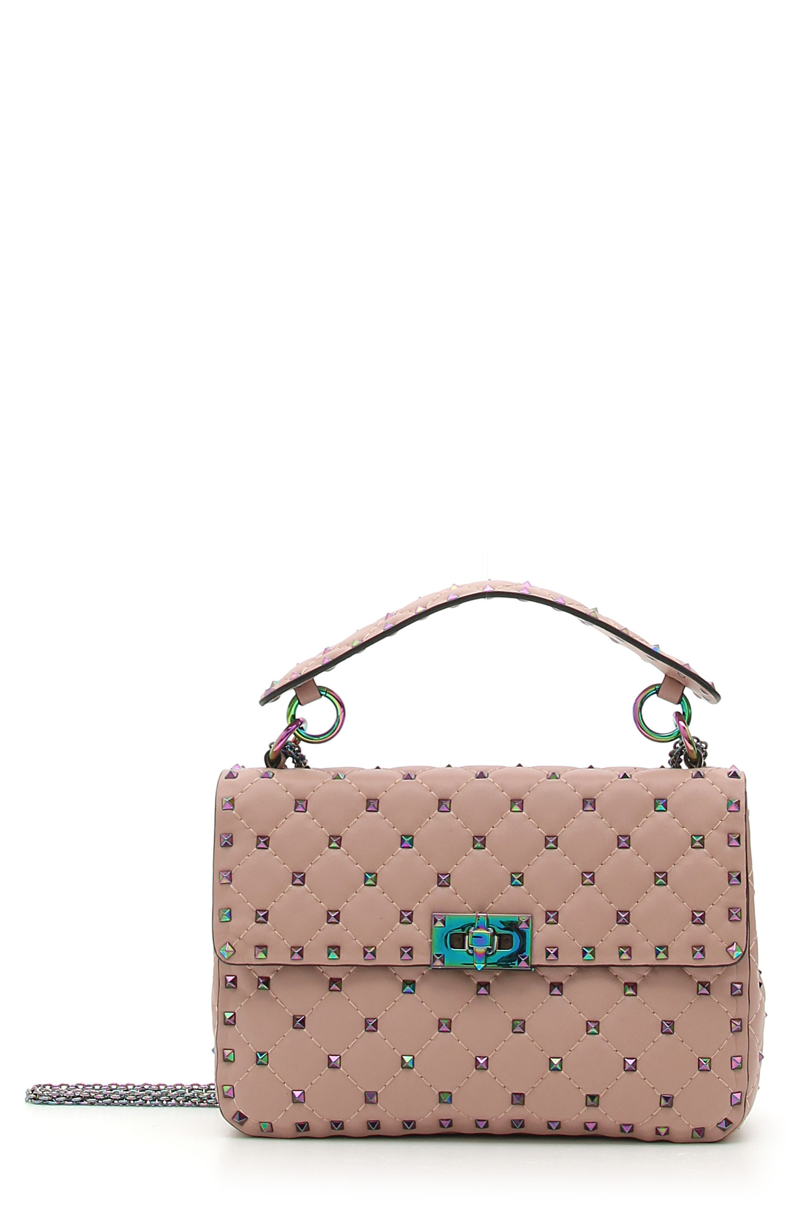 Rockstud Lambskin Leather Shoulder Bag,                             Main thumbnail 1, color,                             DUSTY ROSE