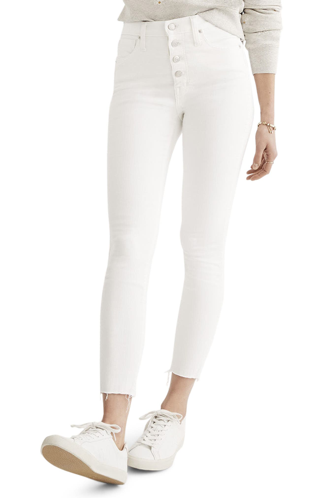 10-Inch Button High Waist Crop Skinny Jeans,                             Main thumbnail 1, color,                             PURE WHITE