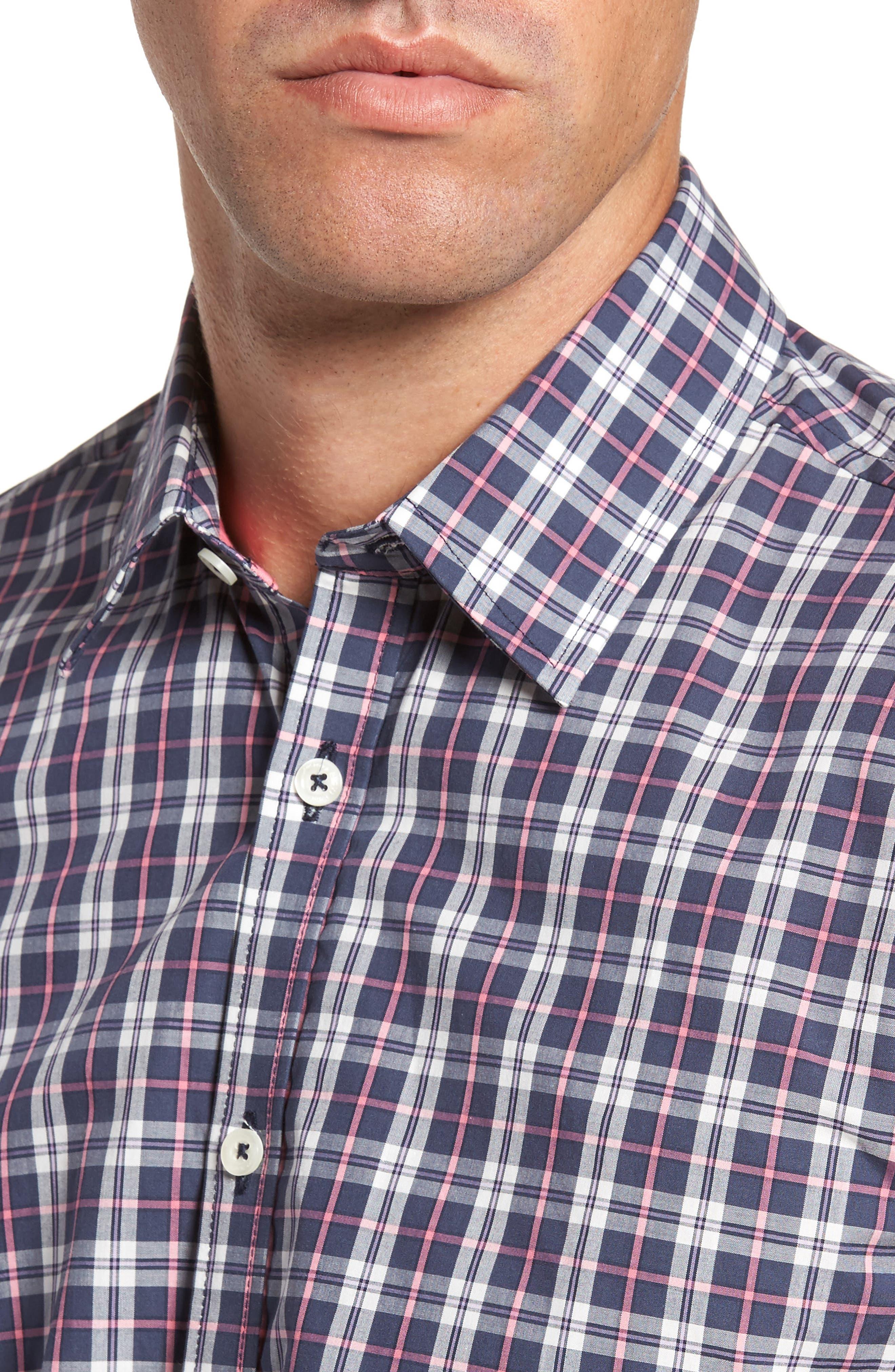 Slim Fit Plaid Sport Shirt,                             Alternate thumbnail 4, color,                             024