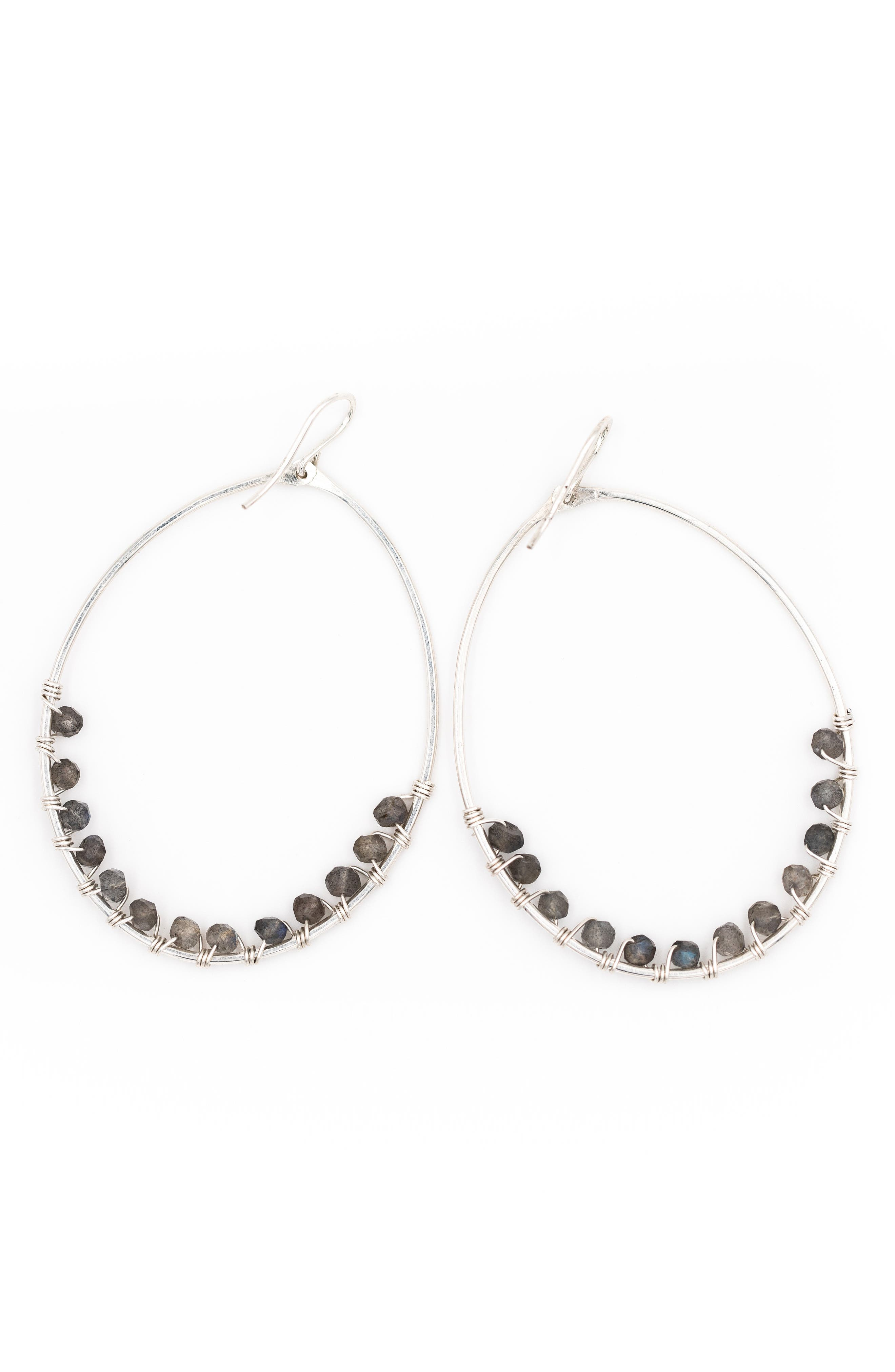 Lily Oval Hoop Earrings,                             Main thumbnail 1, color,                             SILVER