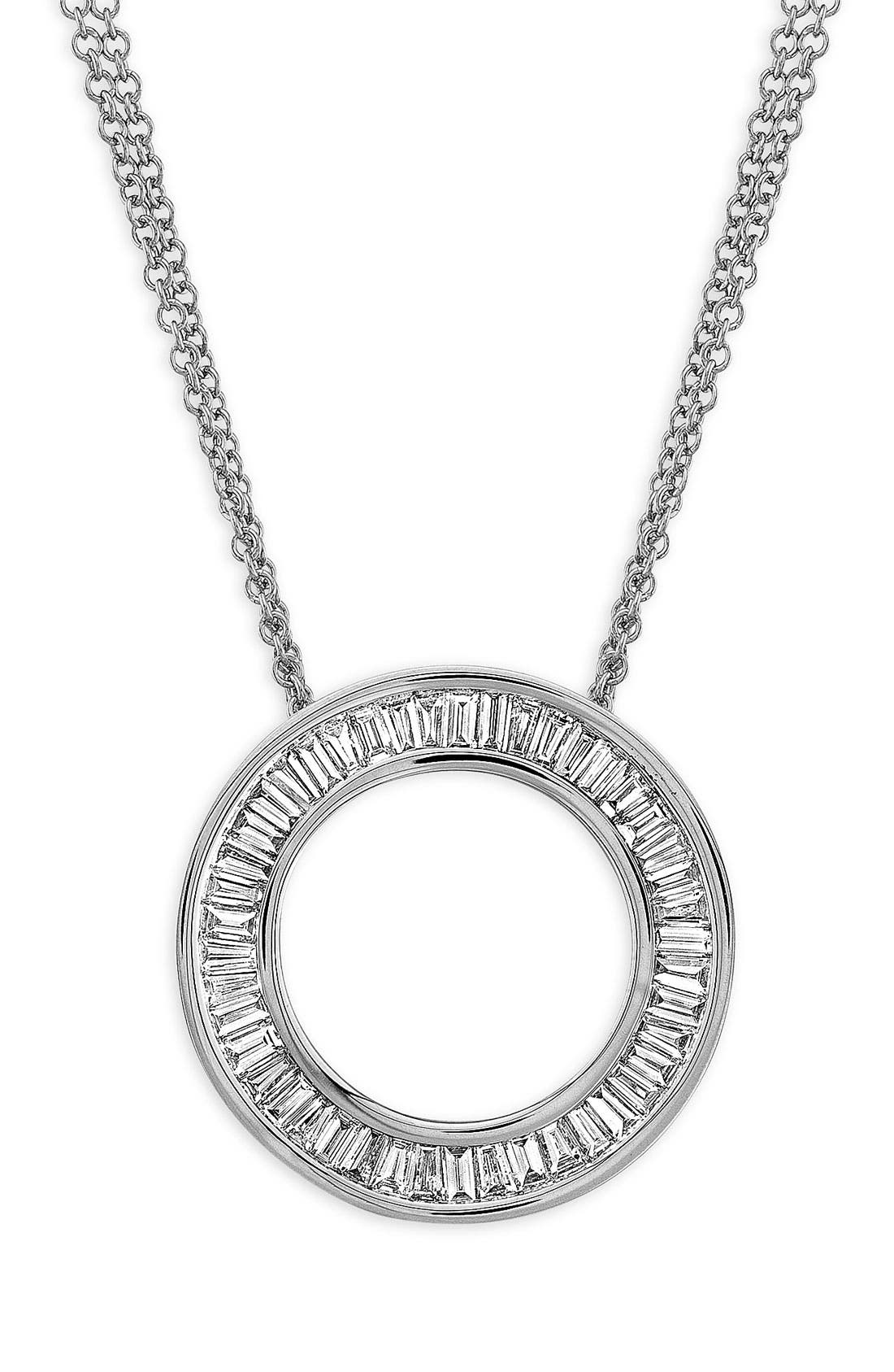 'Circle of Life' Medium Diamond Pendant Necklace,                             Main thumbnail 1, color,                             WHITE GOLD