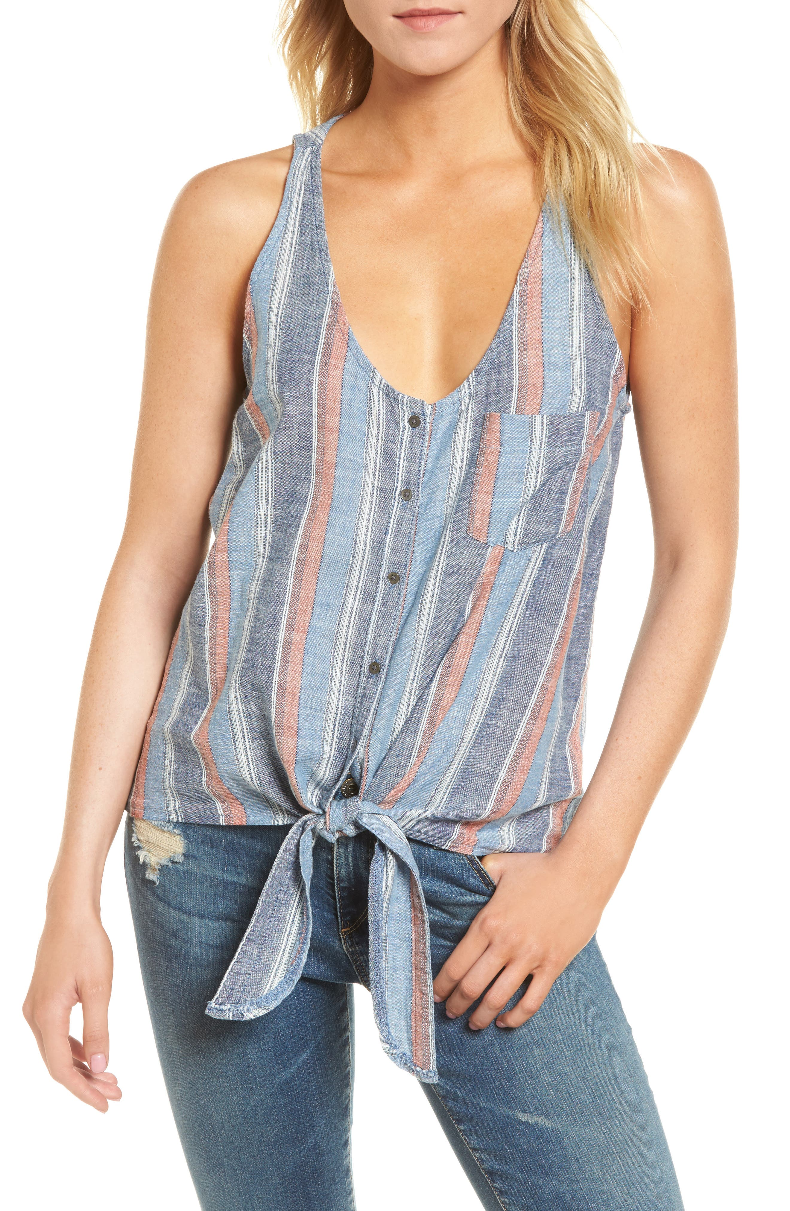 Cynthia Tie Front Tank,                             Main thumbnail 1, color,                             BLUE FIG MULTI