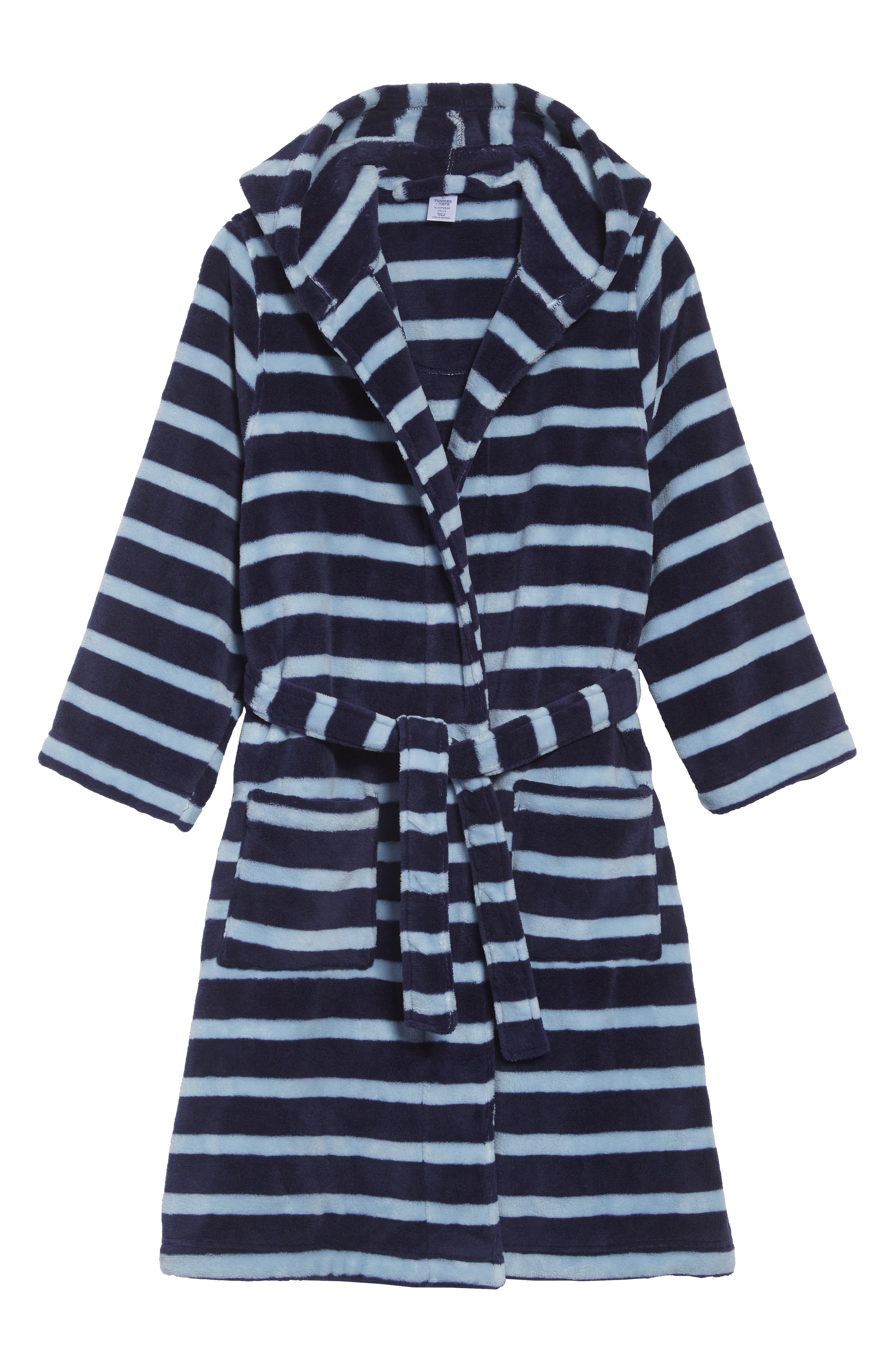 Hooded Plush Robe,                         Main,                         color, NAVY PEACOAT- BLUE STRIPE