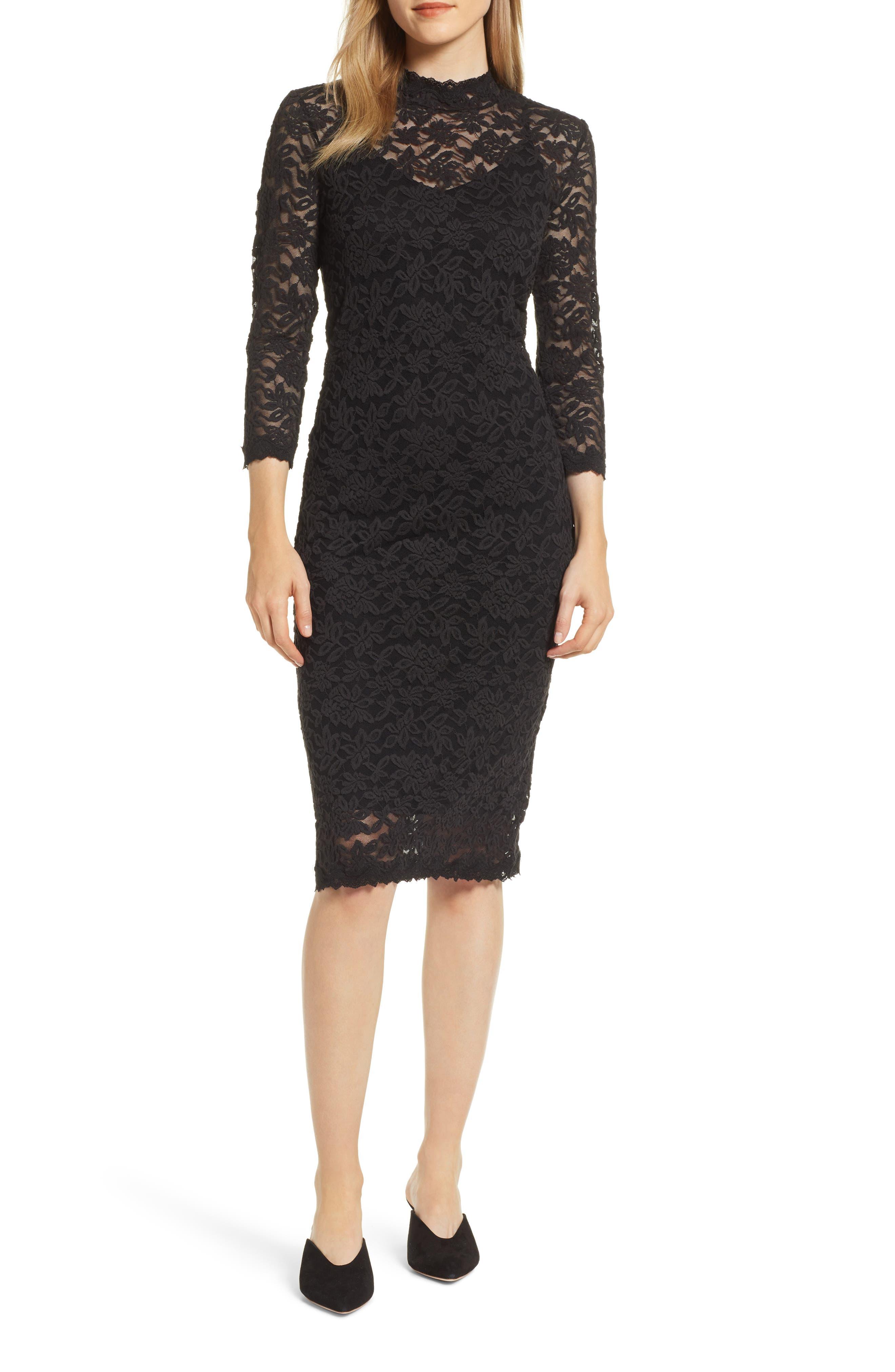 Delicia Lace Body-Con Dress,                             Main thumbnail 1, color,                             BLACK SILVER