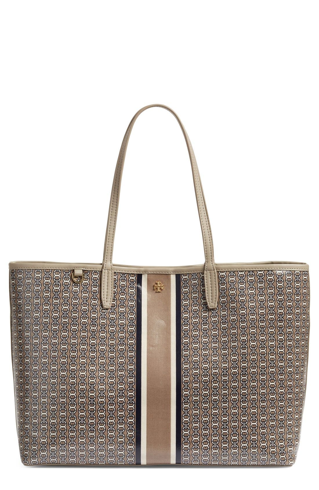 Gemini Link Coated Canvas Tote,                         Main,                         color, FRENCH GREY GEMINI LINK STRIPE