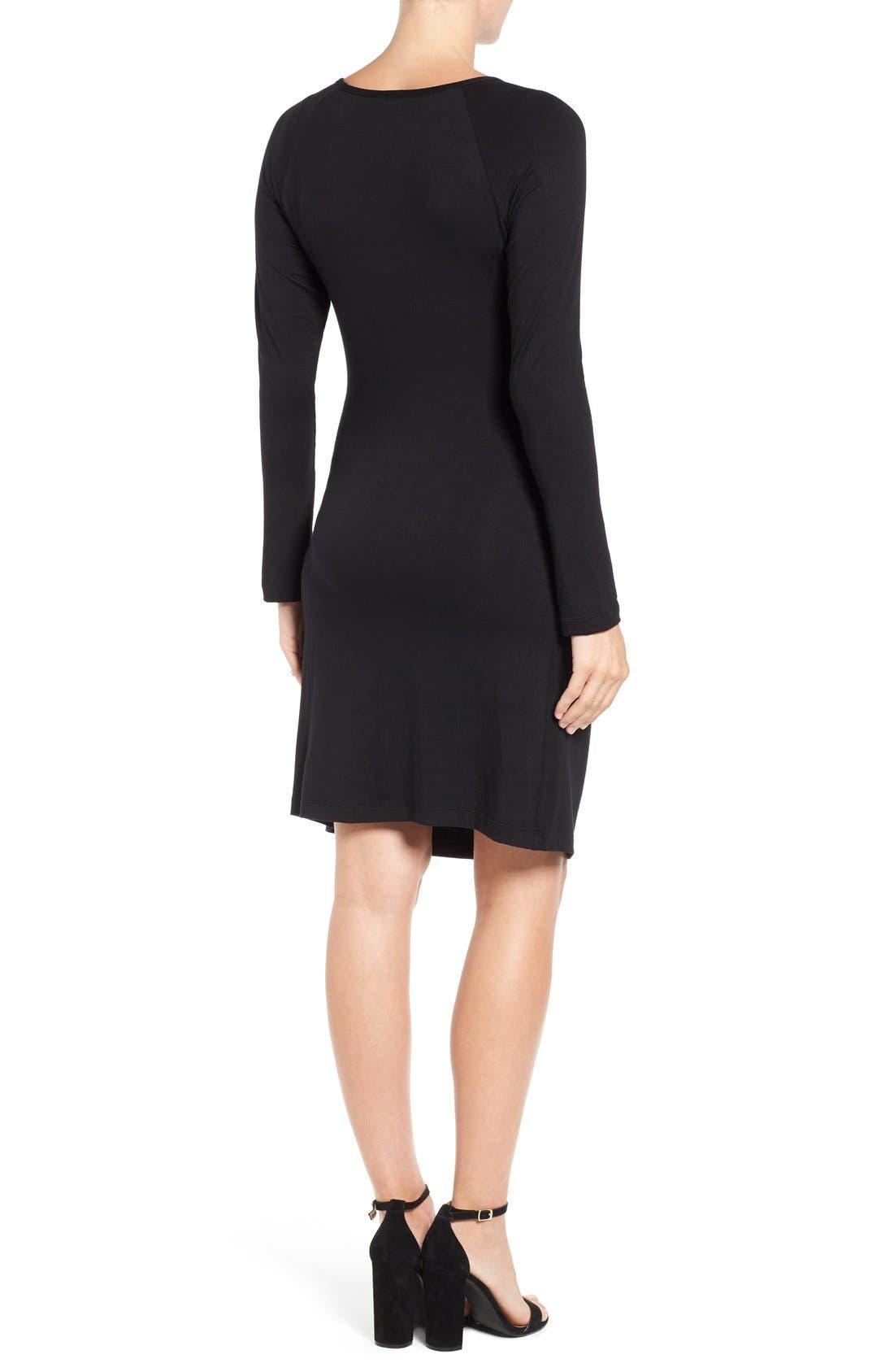 'Alex' Ruched Maternity/Nursing Dress,                             Alternate thumbnail 2, color,                             BLACK