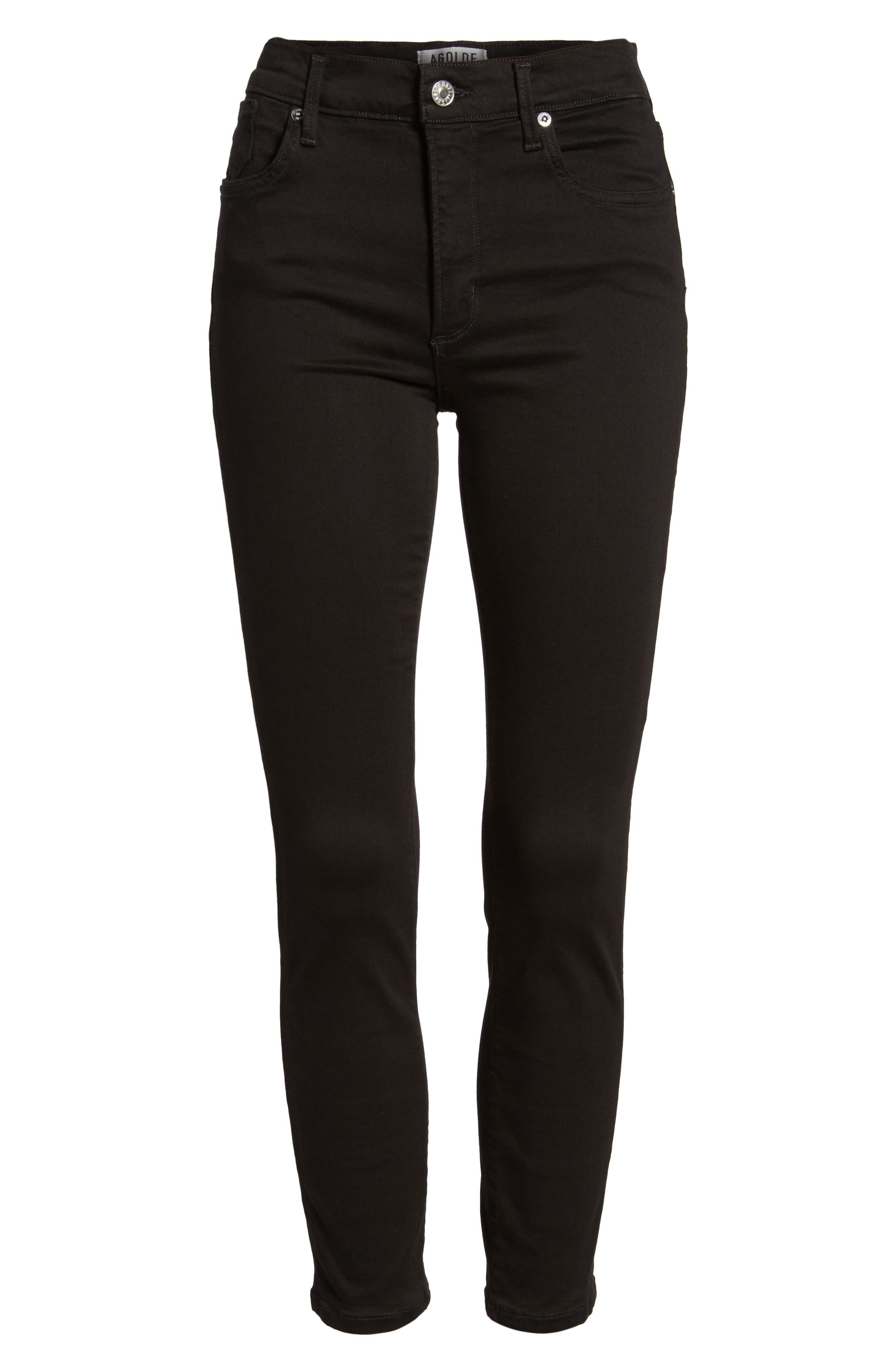 Sophie High Waist Crop Skinny Jeans,                             Alternate thumbnail 6, color,                             JET