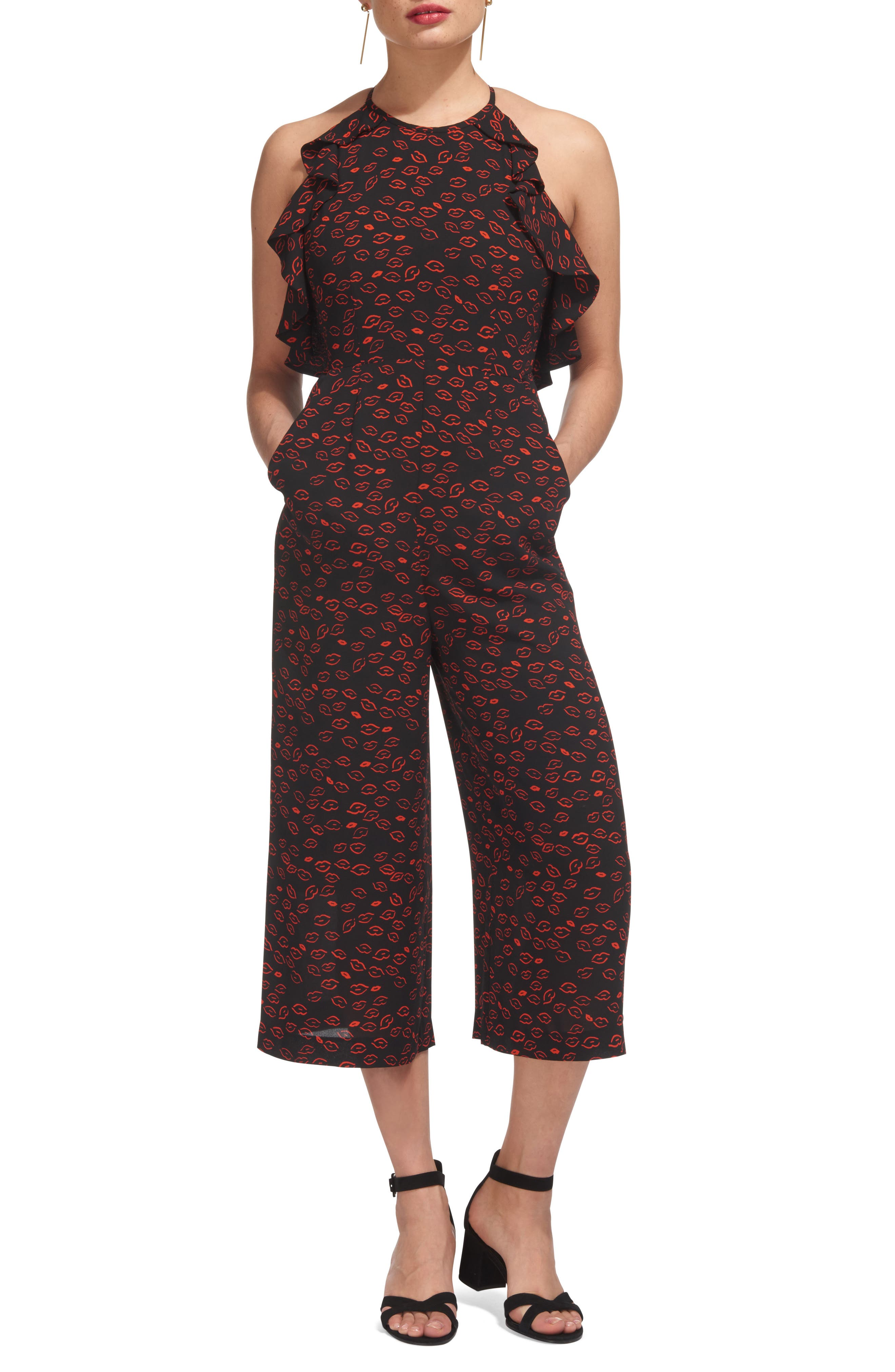 Sonia Frill Lips Print Crop Jumpsuit,                         Main,                         color, 450