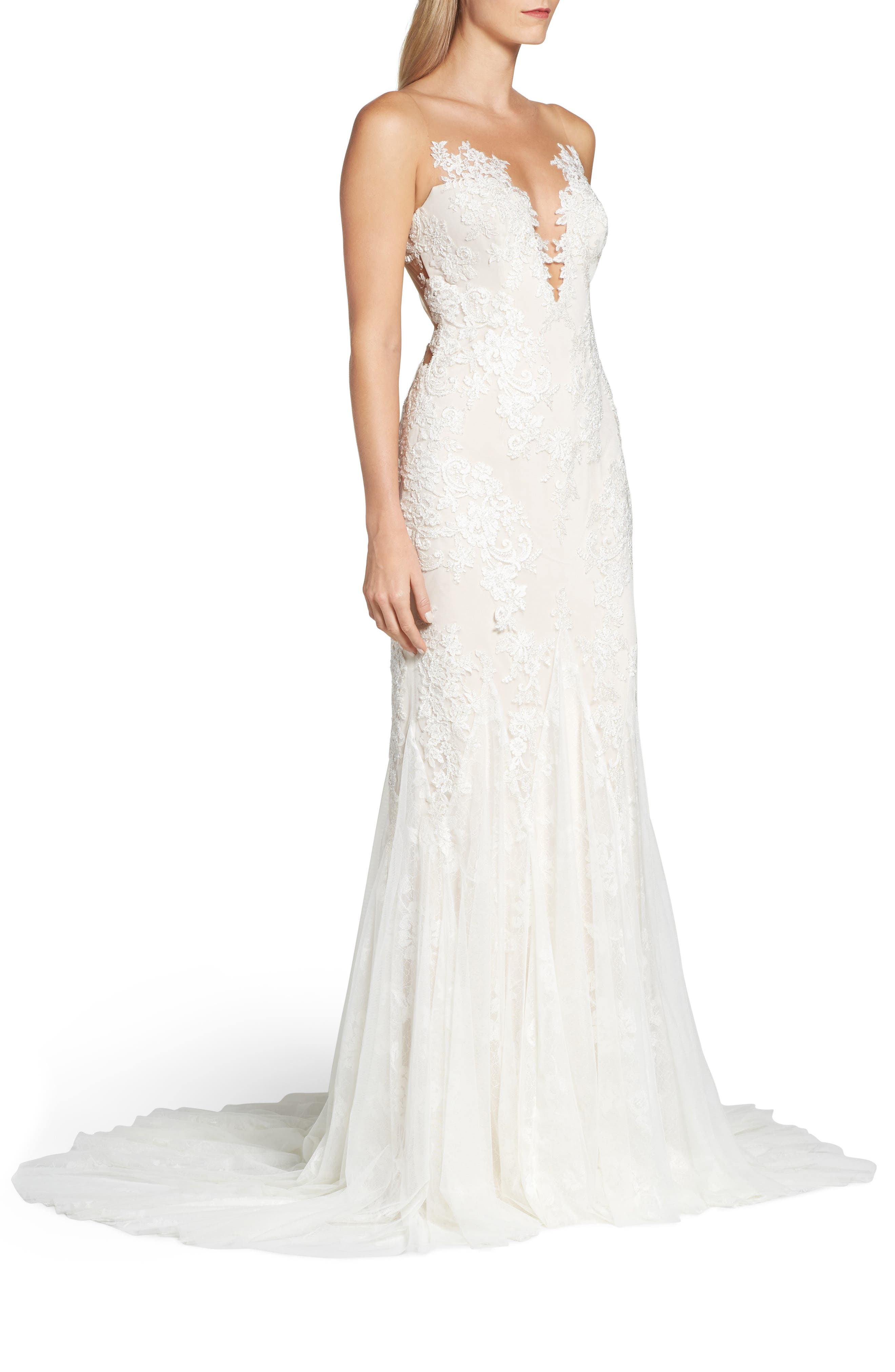 Daisy Illusion V-Neck Gown,                             Alternate thumbnail 3, color,                             OFF WHITE/ SOFT NUDE