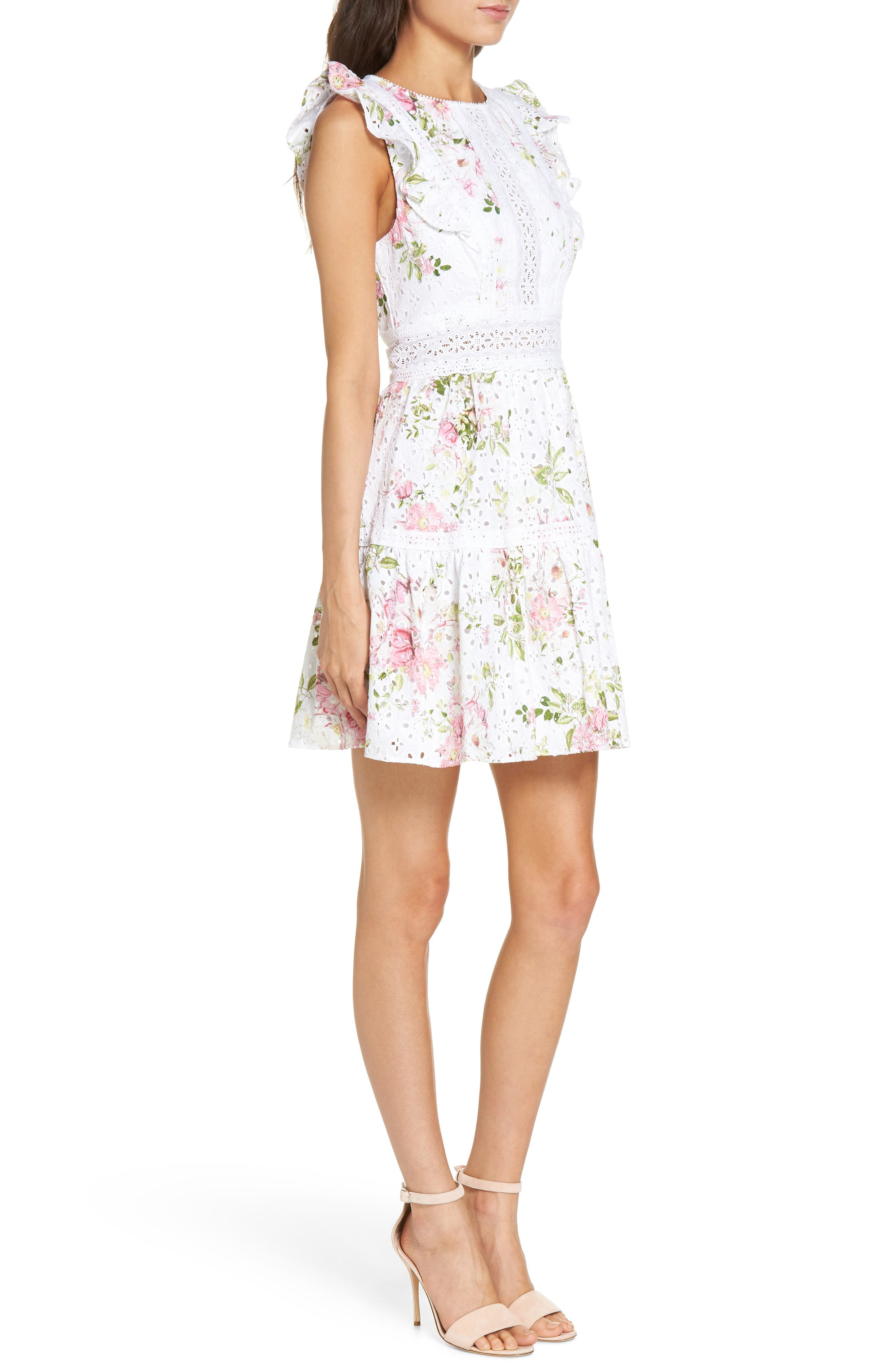 Print Broderie Anglaise Fit & Flare Dress,                             Alternate thumbnail 3, color,                             100