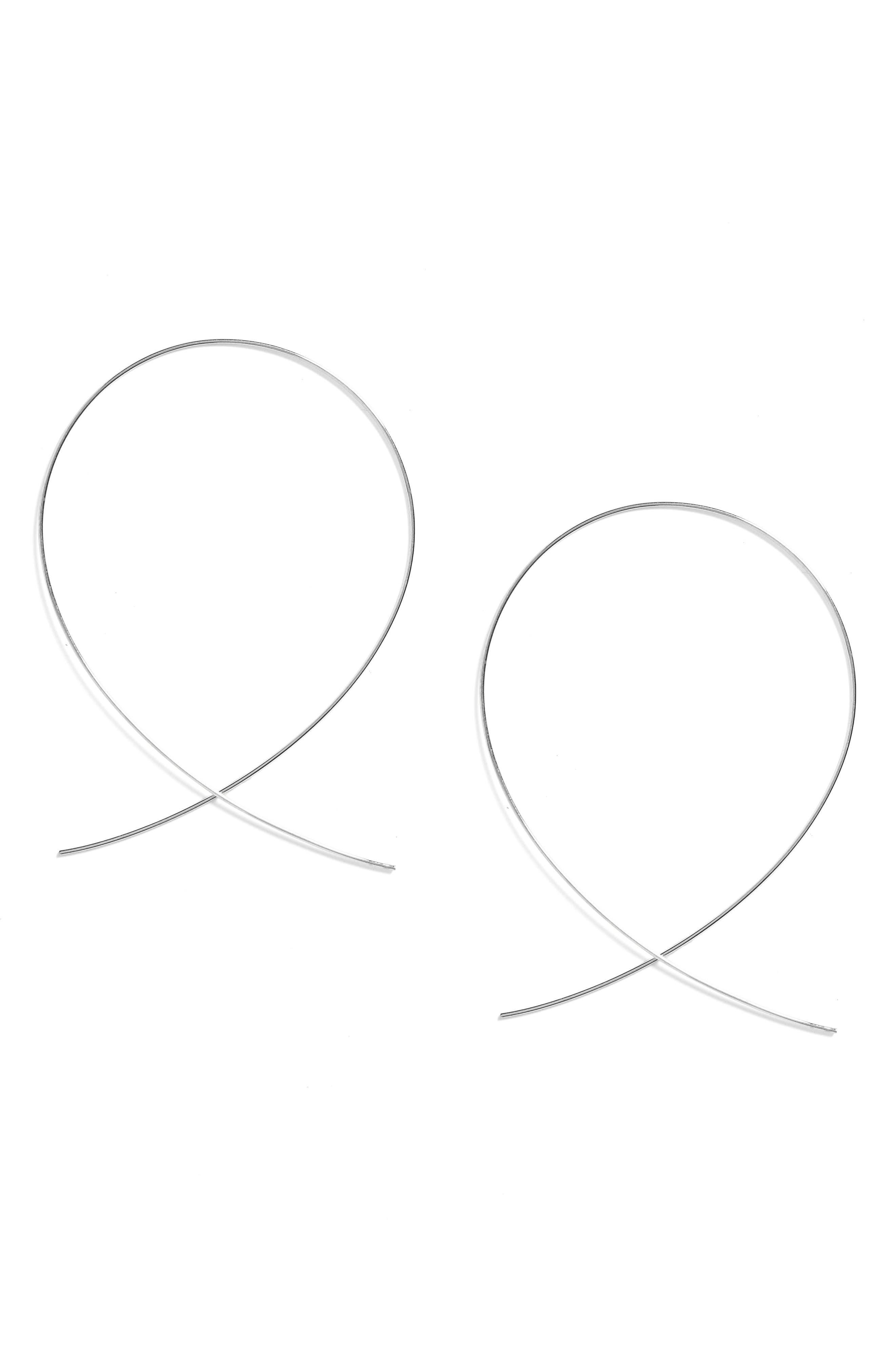 'Large Upside Down' Hoop Earrings,                         Main,                         color, WHITE GOLD