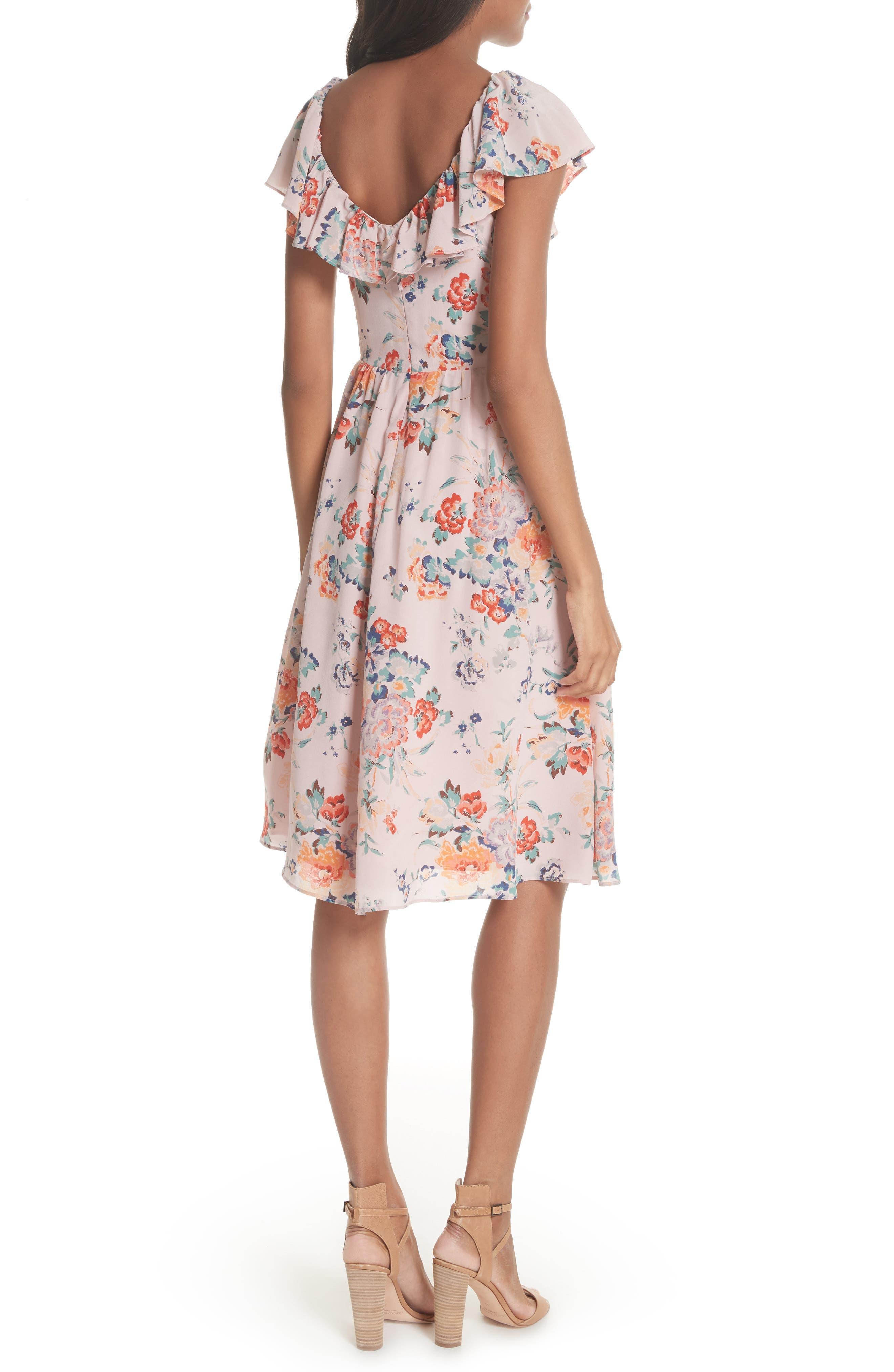Marlena Ruffle Silk Dress,                             Alternate thumbnail 2, color,                             657