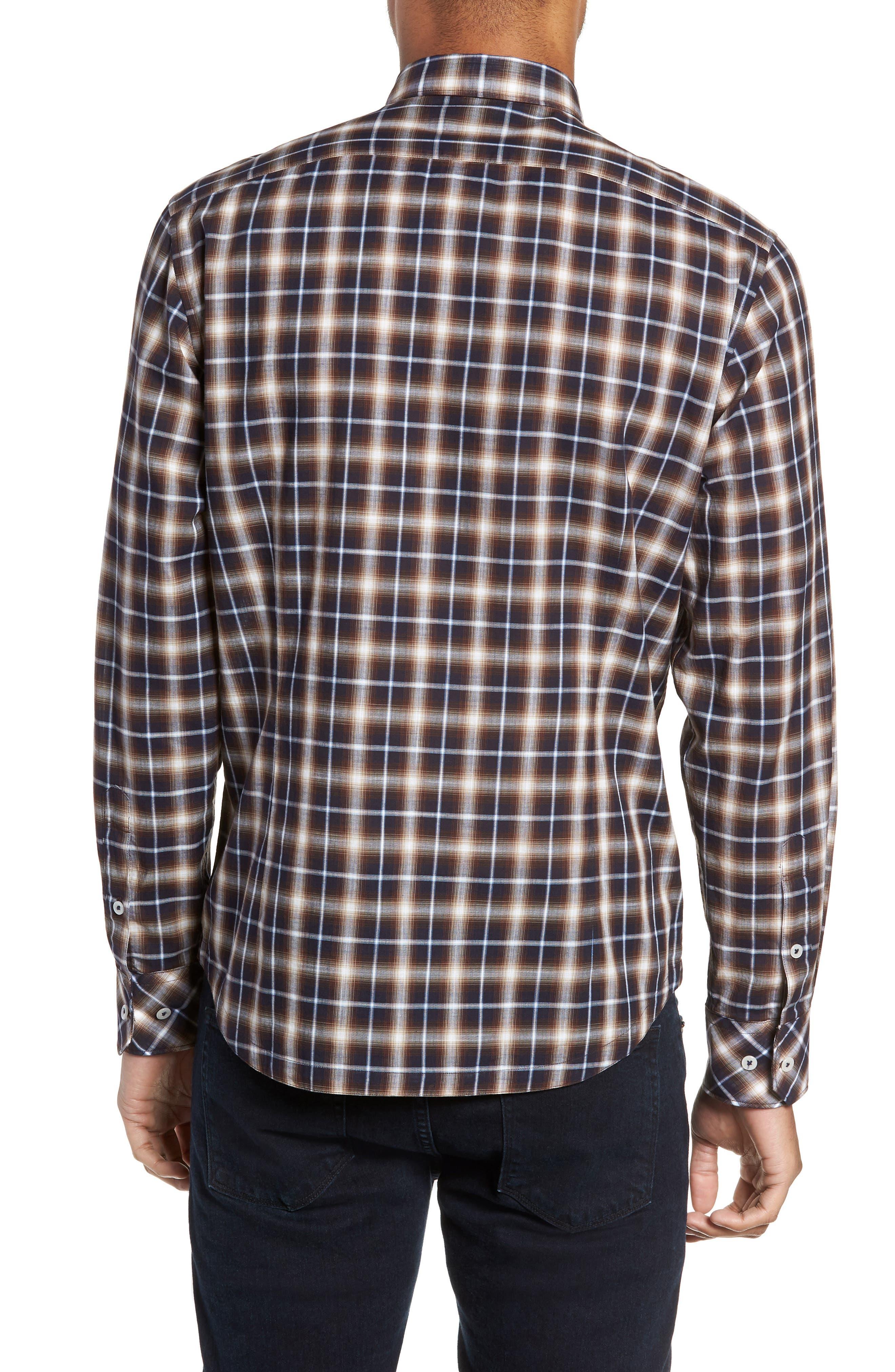 Alderplaid Slim Fit Sport Shirt,                             Alternate thumbnail 2, color,                             TOBACCO