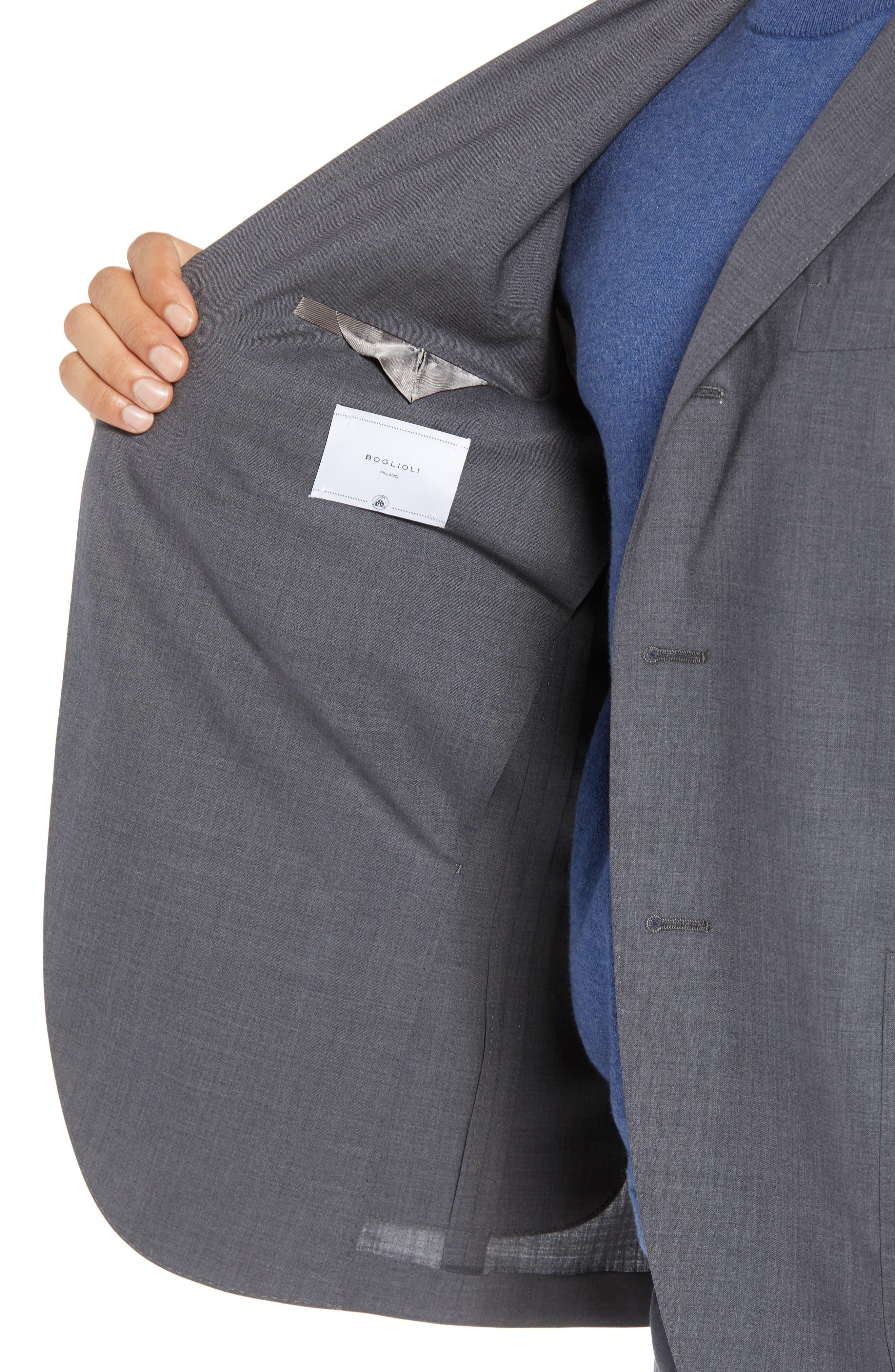 Trim Fit Solid Wool Suit,                             Alternate thumbnail 4, color,                             MEDIUM GREY