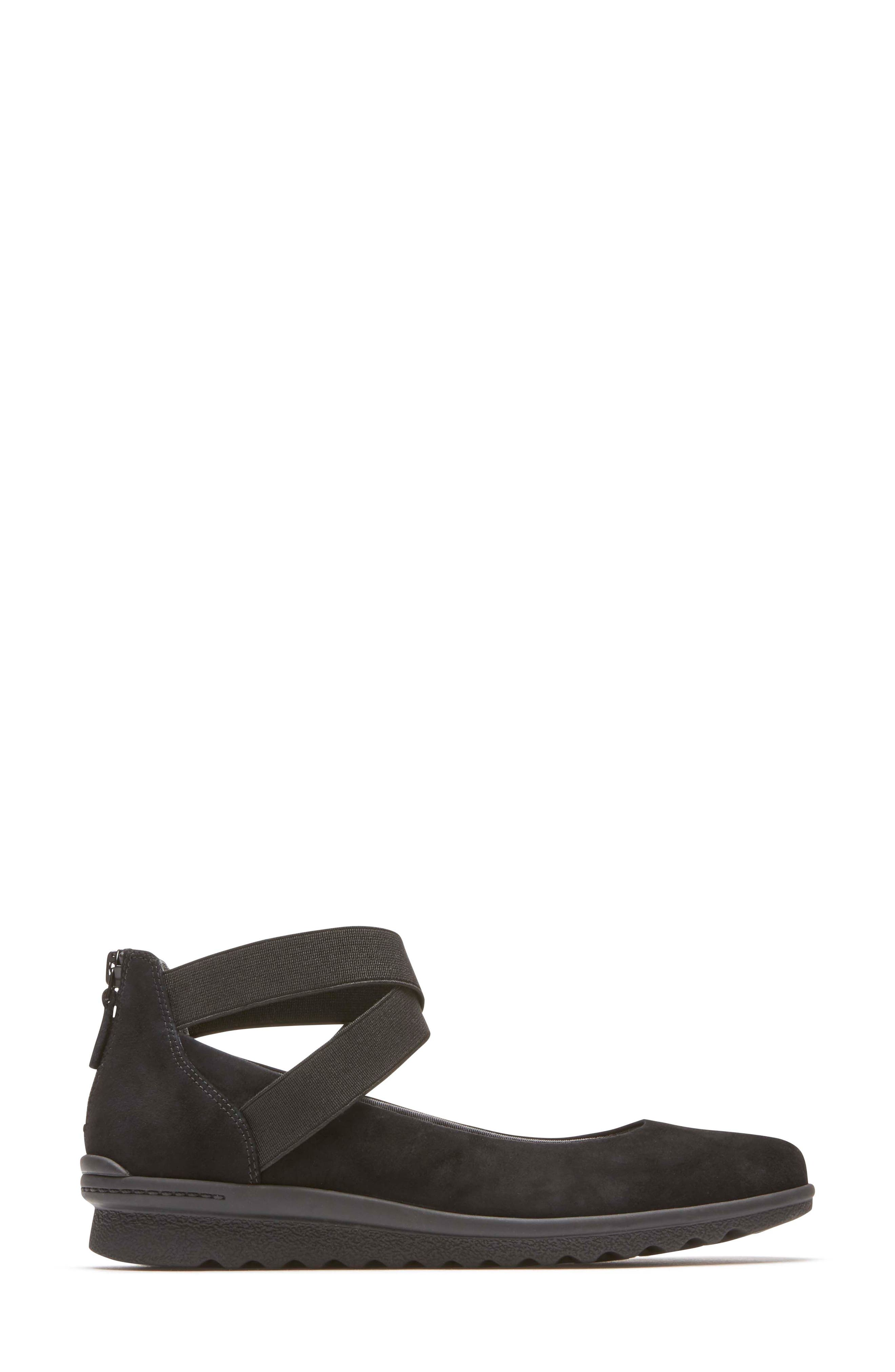 Chenole Cross Strap Flat,                             Alternate thumbnail 3, color,                             BLACK SUEDE