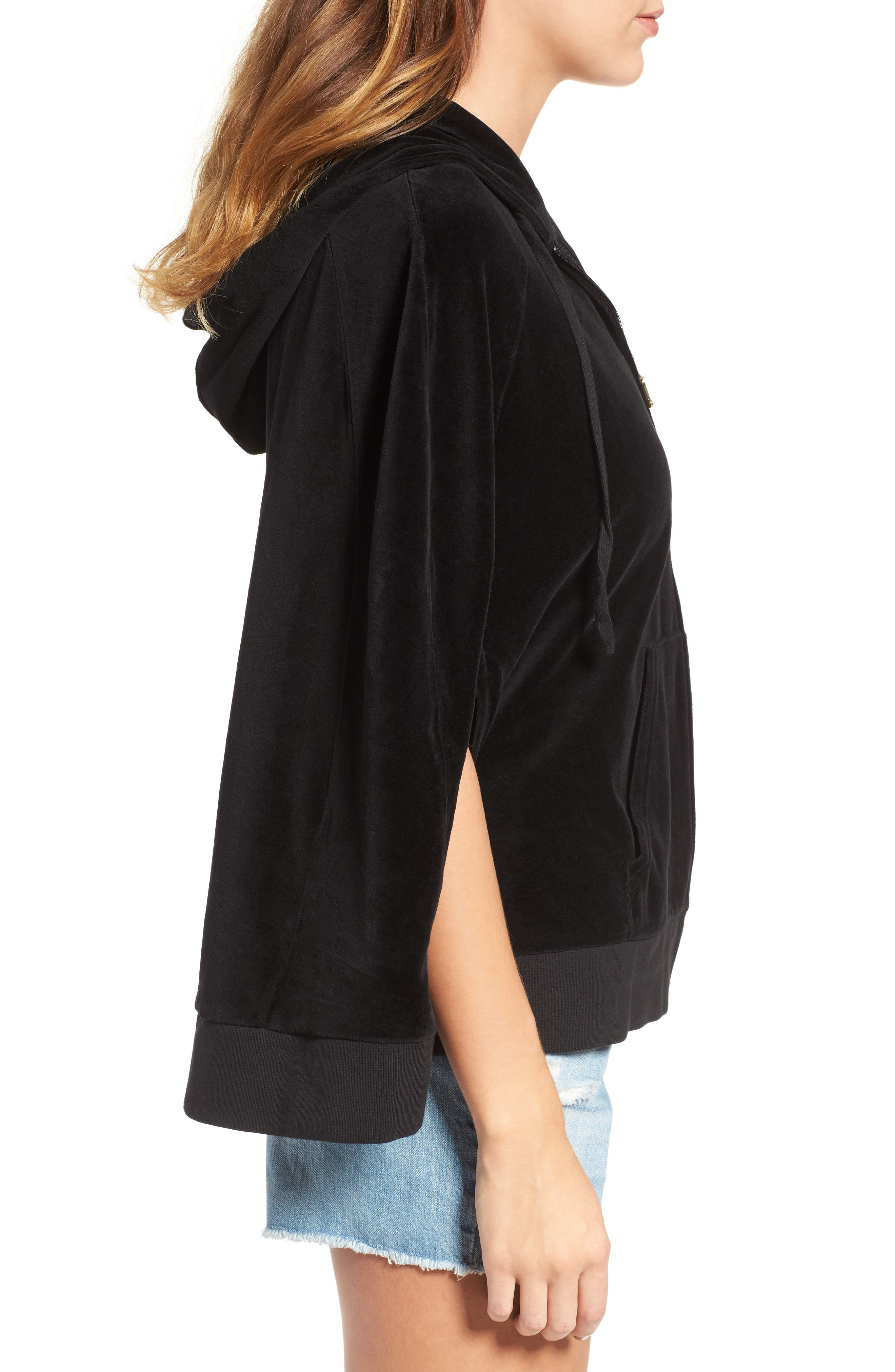 Velour Cape Hoodie,                             Alternate thumbnail 3, color,                             009