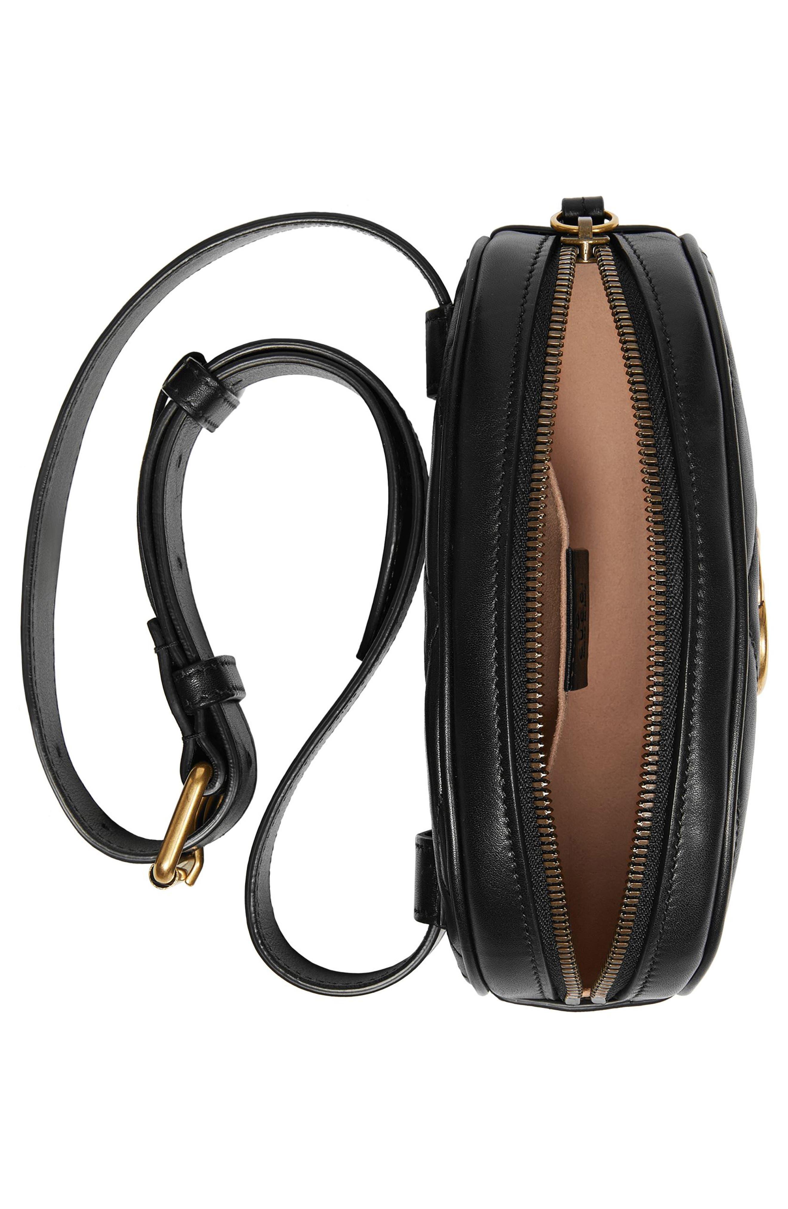GG Marmont 2.0 Matelassé Leather Belt Bag,                             Alternate thumbnail 4, color,                             NERO