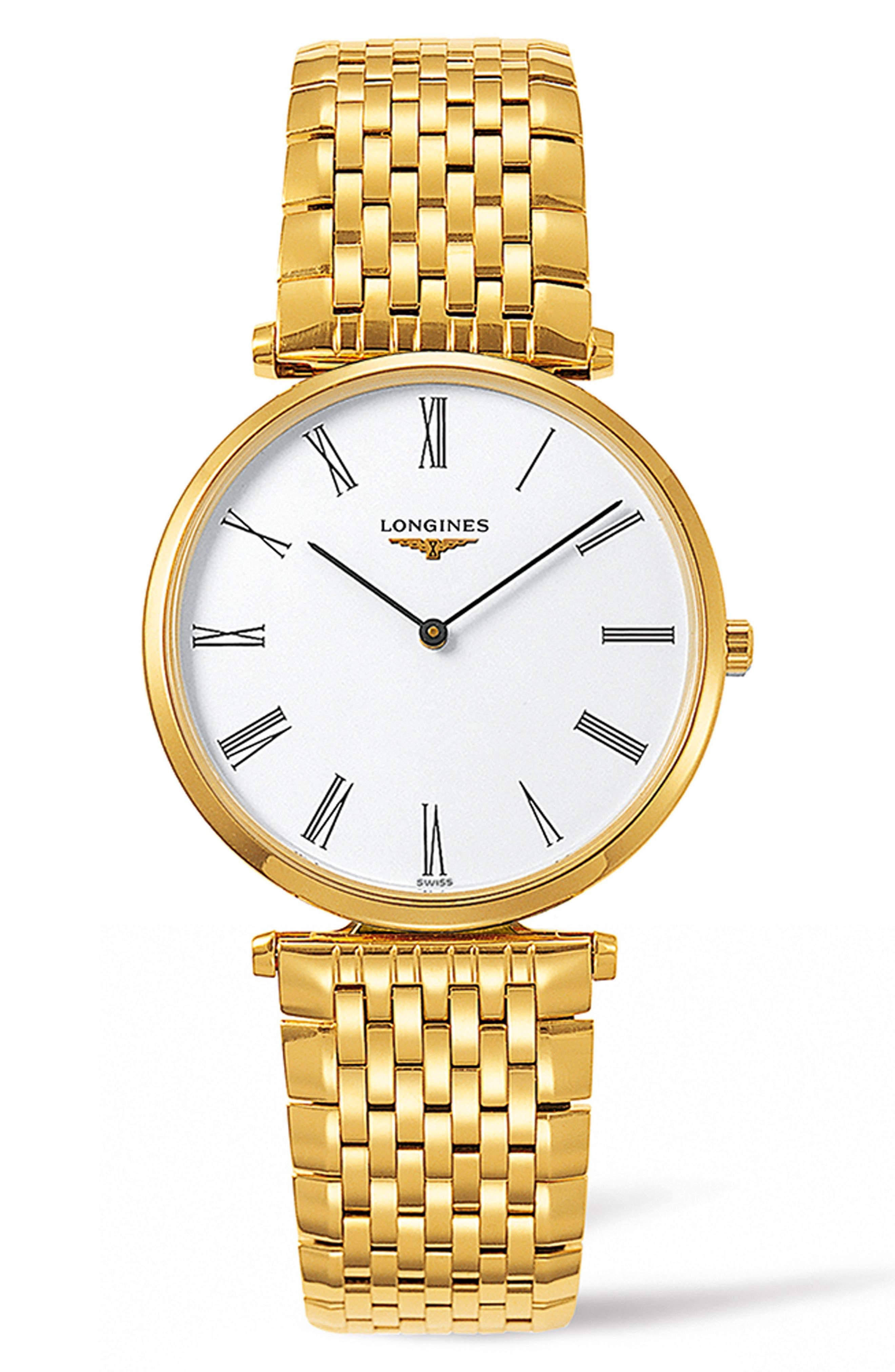 La Grande Classique de Longines Bracelet Watch, 34mm,                             Main thumbnail 1, color,                             GOLD/ WHITE/ GOLD