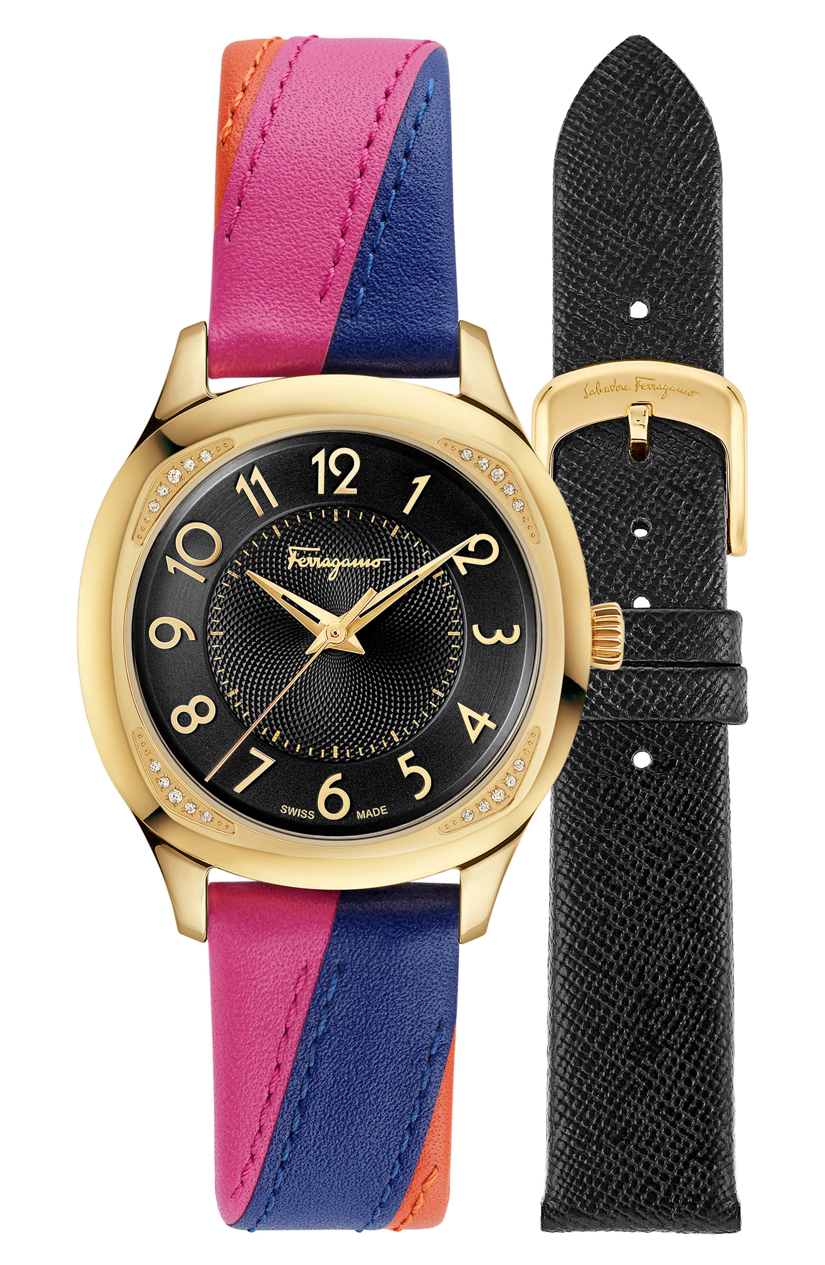 Time Square Leather Strap Watch, 36mm,                             Alternate thumbnail 4, color,                             MULTI/ BLACK/ GOLD