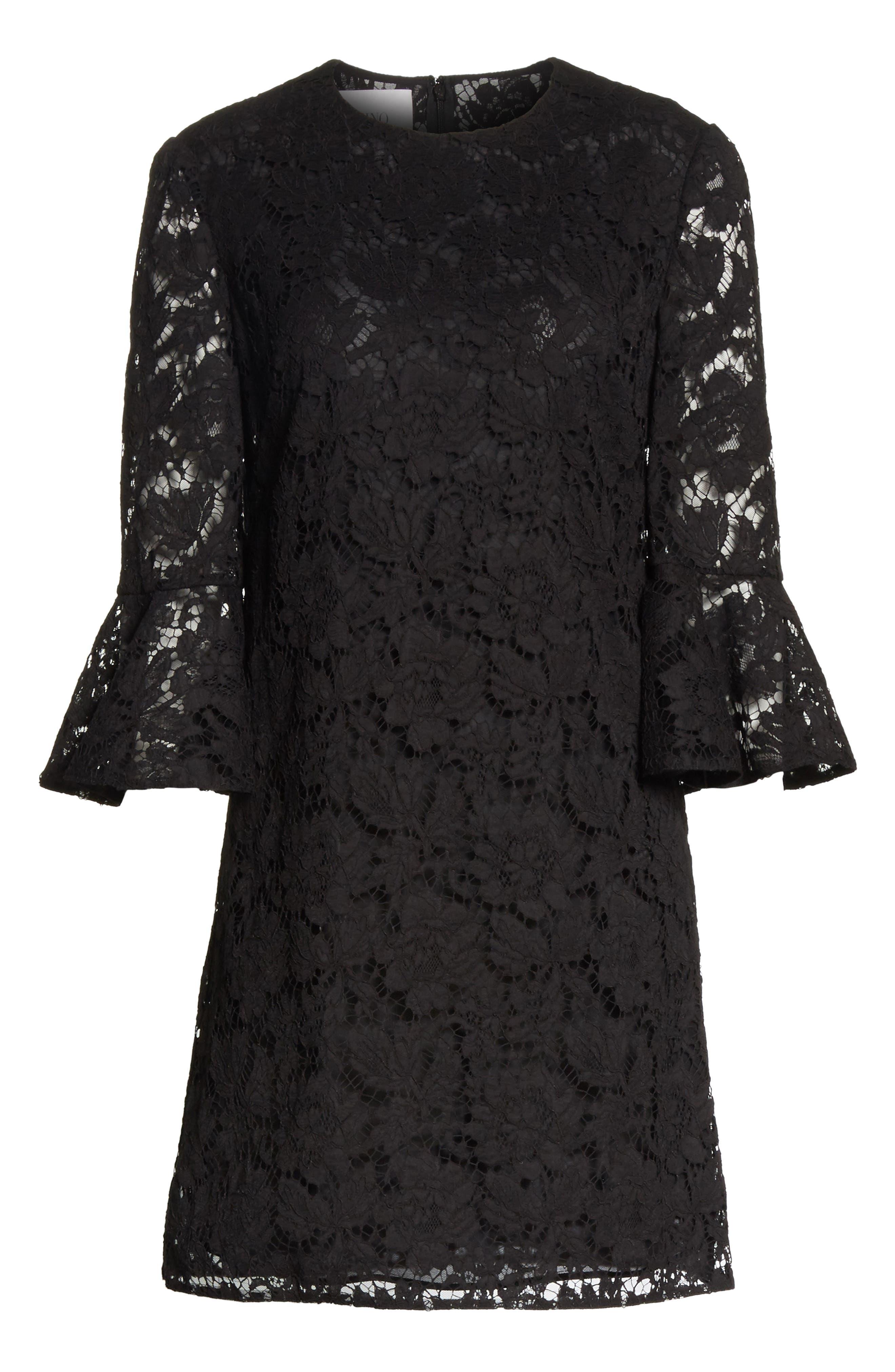 Lace Bell Sleeve Dress,                             Alternate thumbnail 7, color,                             BLACK