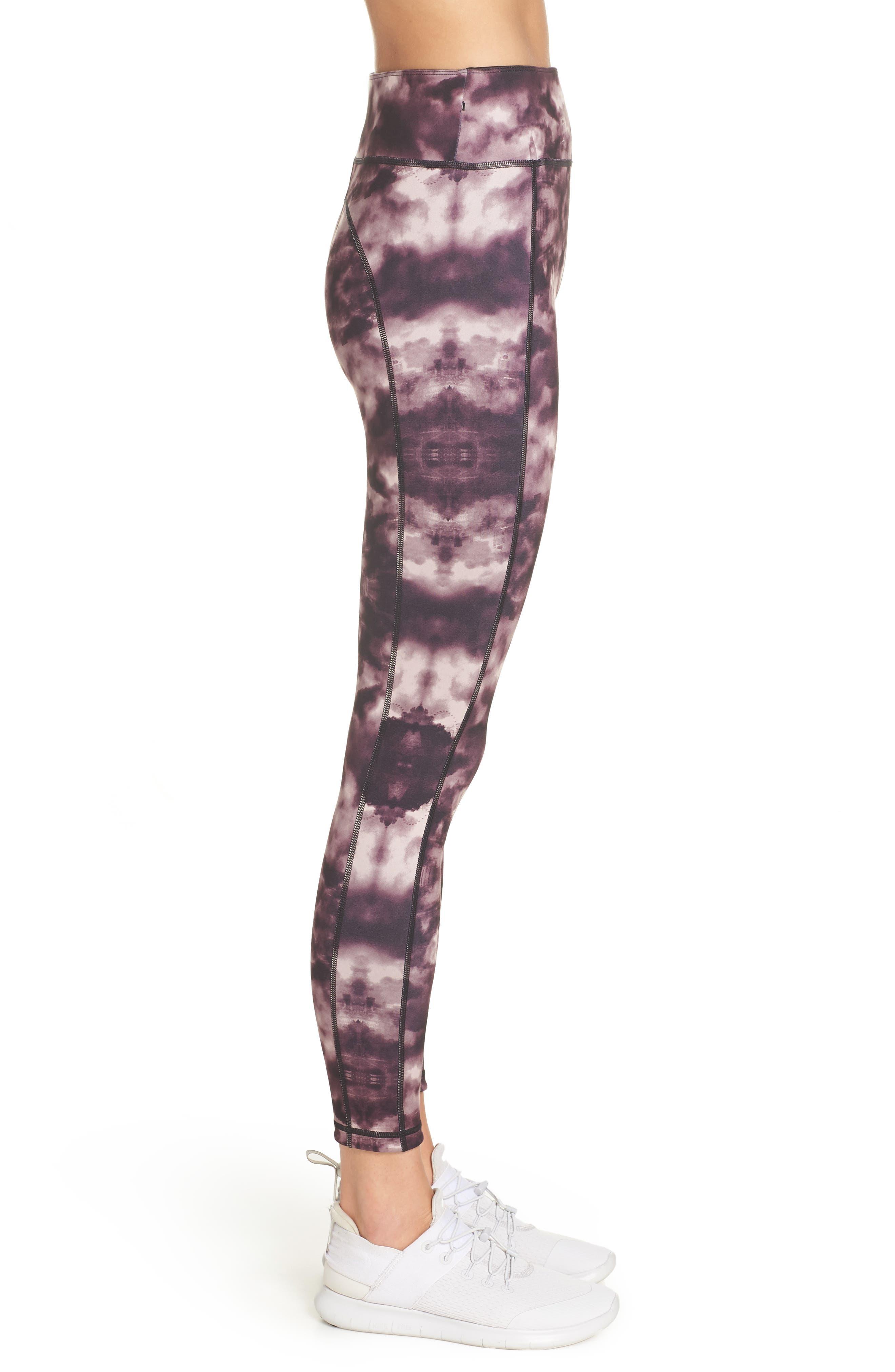 Double Duty Reversible Yoga Leggings,                             Alternate thumbnail 3, color,                             AUBERGINE LONDON PRINT