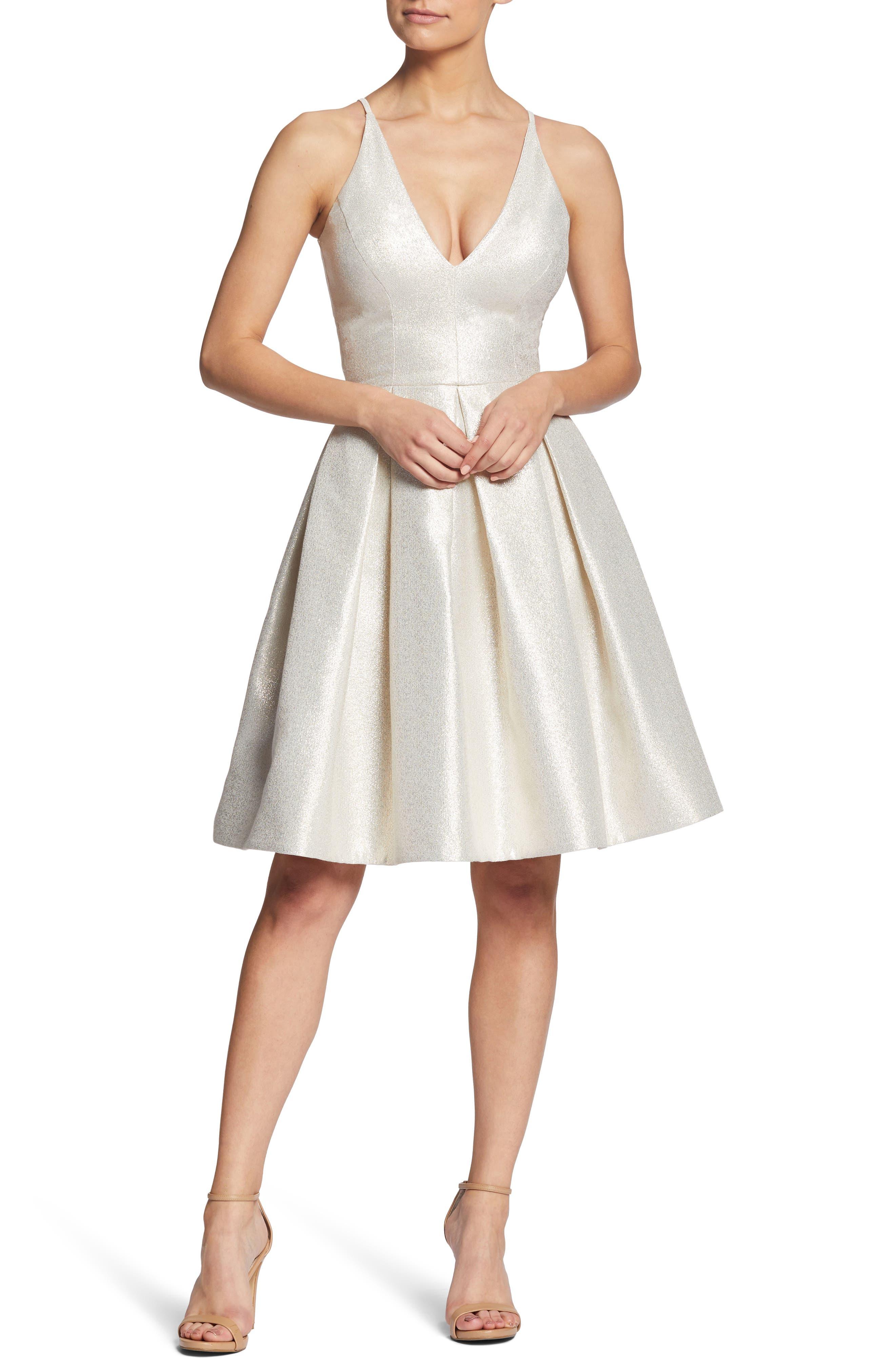 Dress The Population Collette Plunge Neck Fit & Flare Dress, Ivory