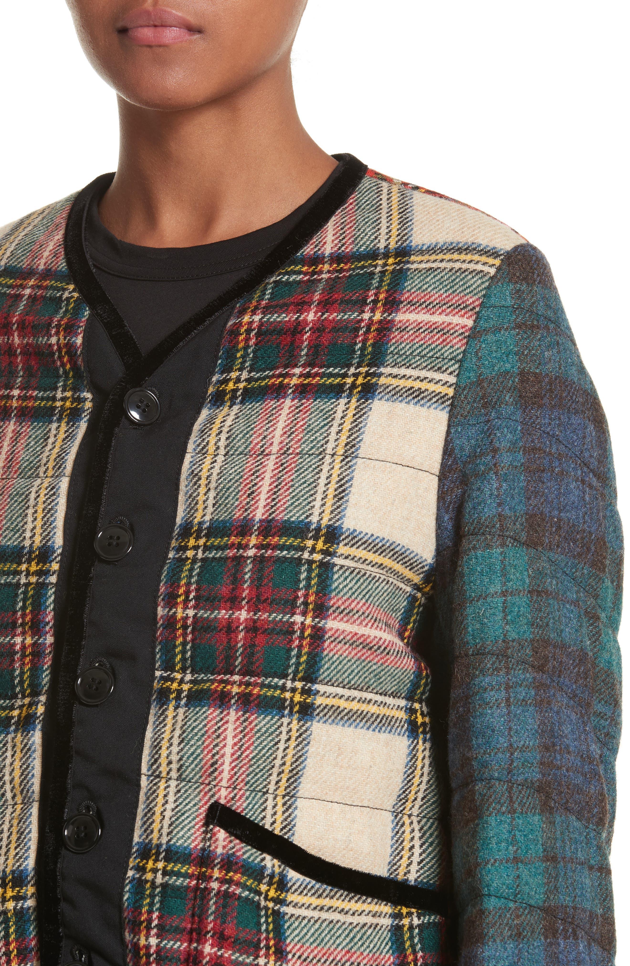 Mixed Tartan Wool Jacket,                             Alternate thumbnail 4, color,                             960