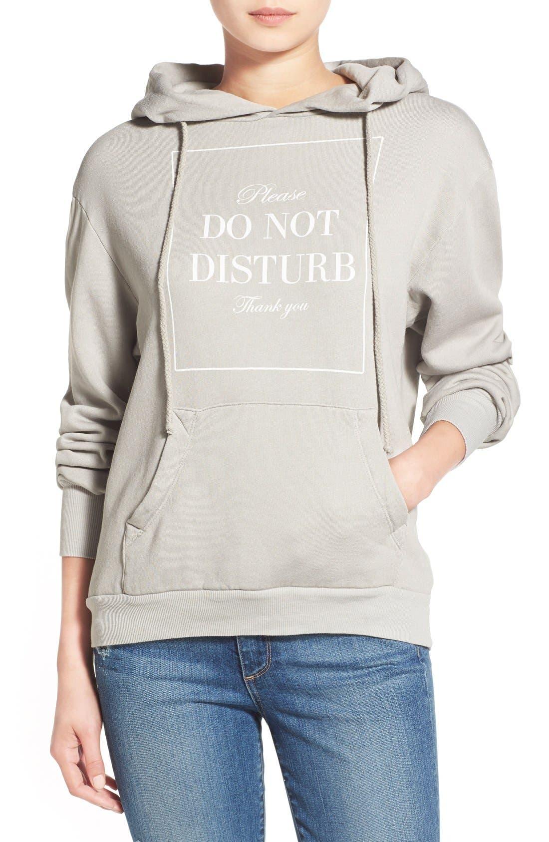 'Please Do Not Disturb' Hooded Sweatshirt, Main, color, 060