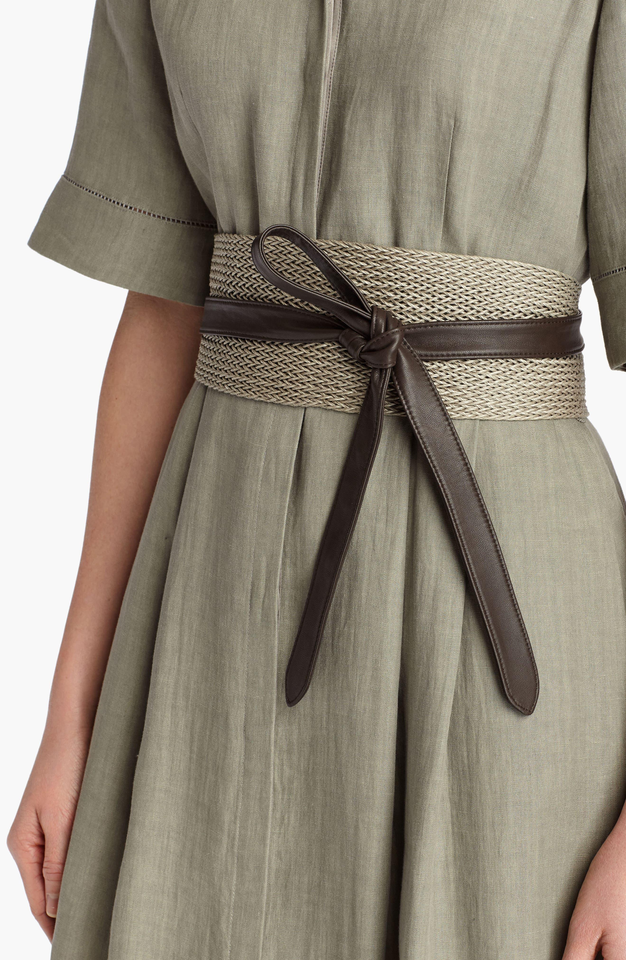 Obi Linen & Leather Belt,                             Alternate thumbnail 5, color,                             NIGHTINGALE