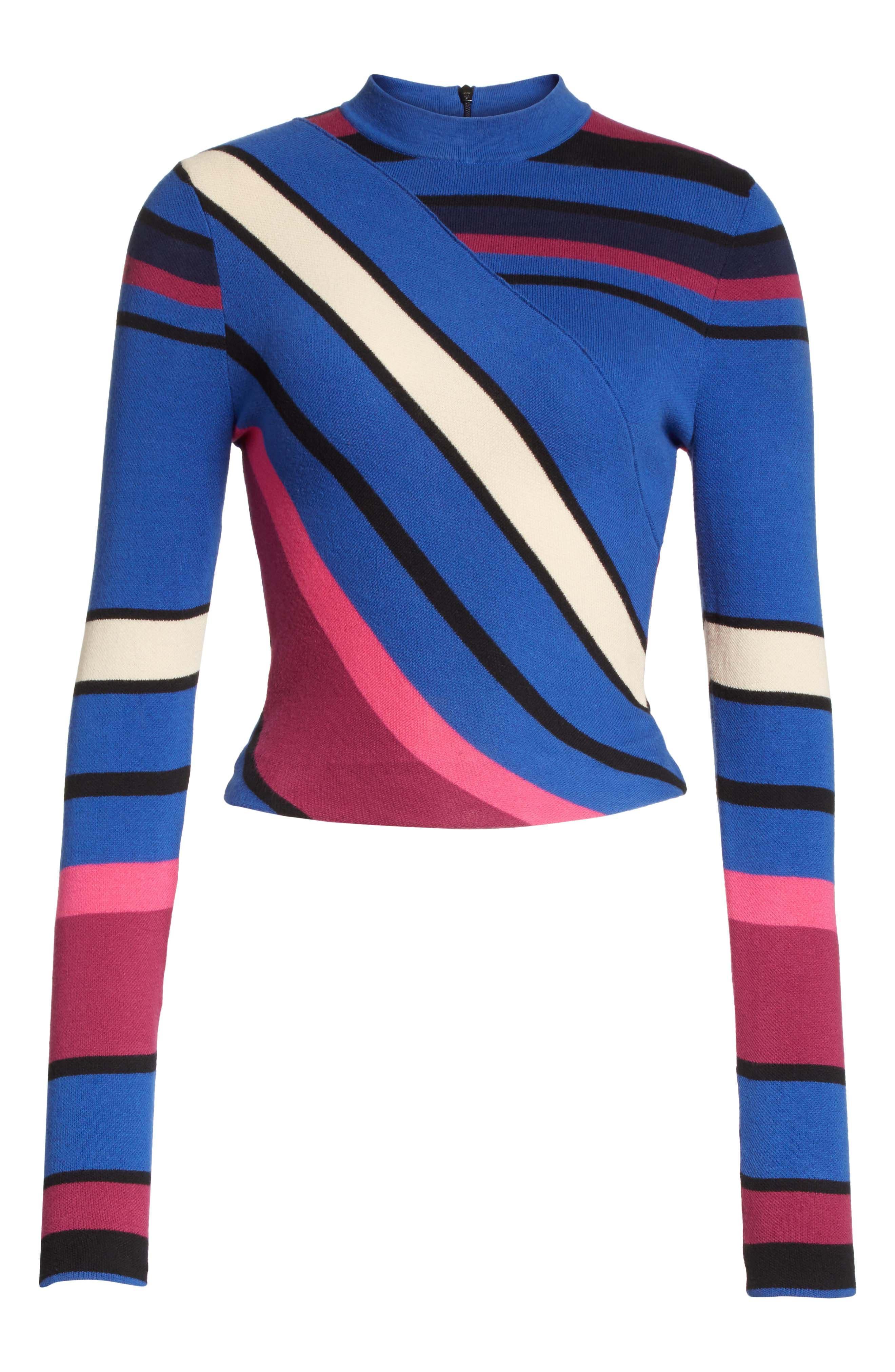Stripe Crop Cotton Top,                             Alternate thumbnail 6, color,                             498