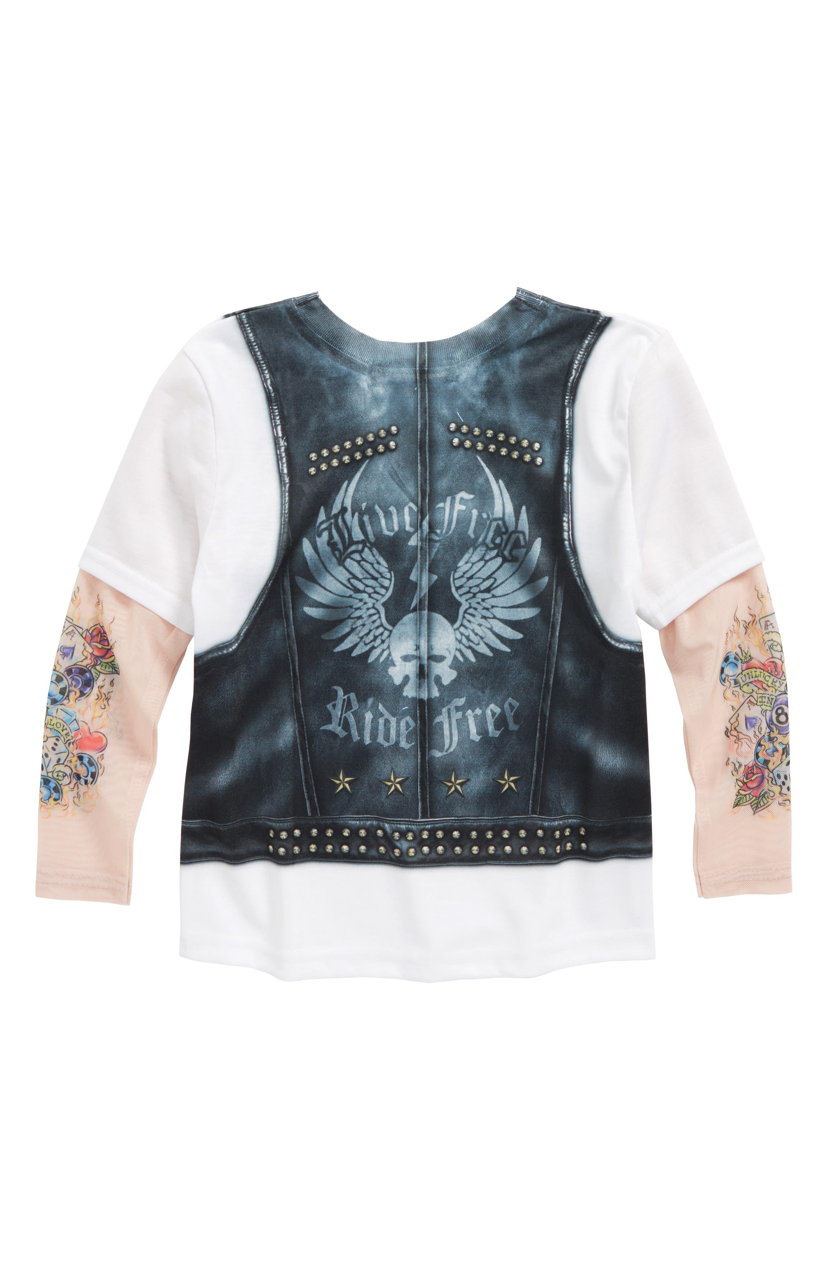 Biker Print T-Shirt with Tattoo Print Sleeves,                             Alternate thumbnail 2, color,                             001