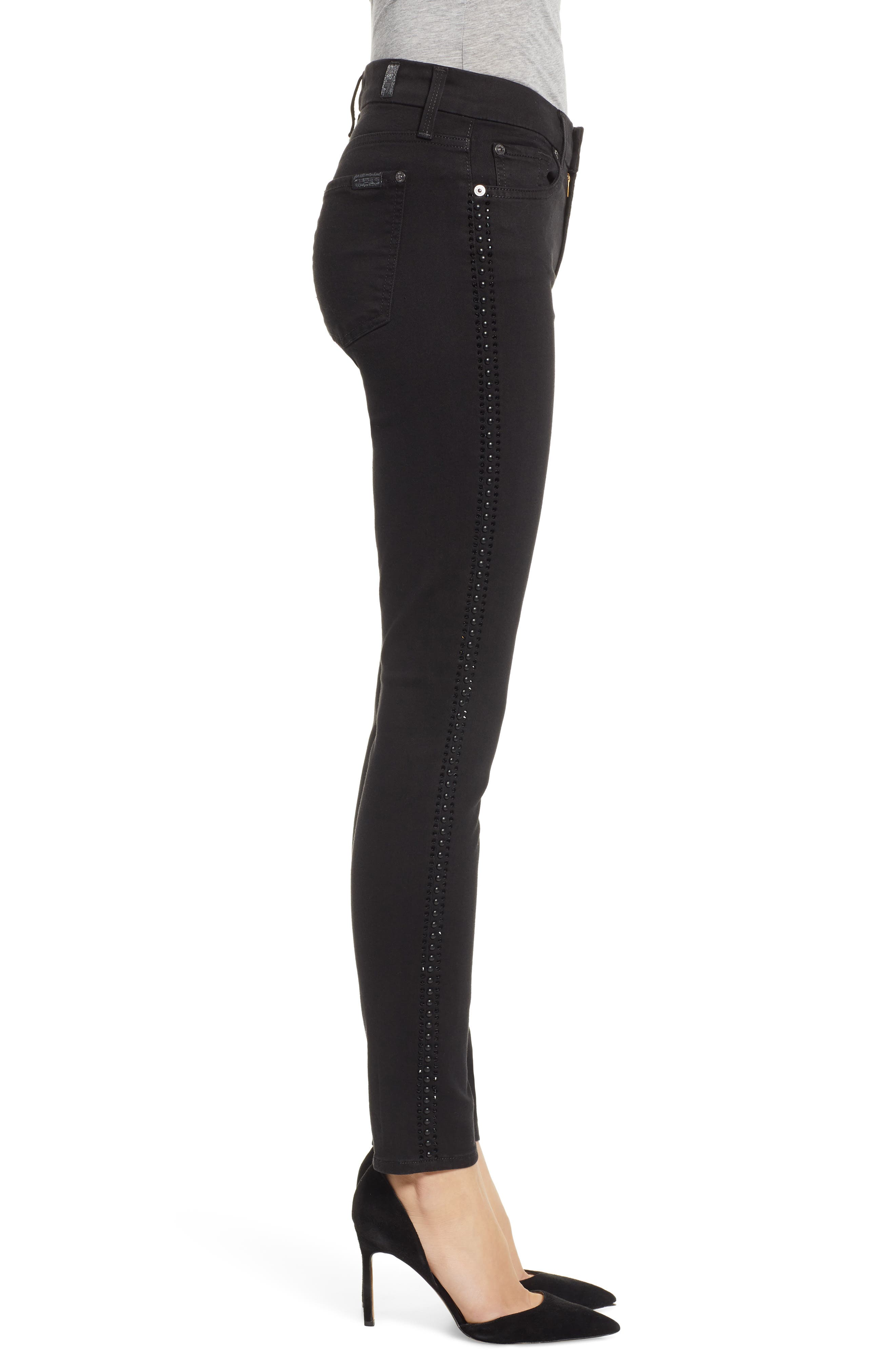 b(air) Coated Ankle Skinny Jeans,                             Alternate thumbnail 3, color,                             BLACK W/ CRYSTALS