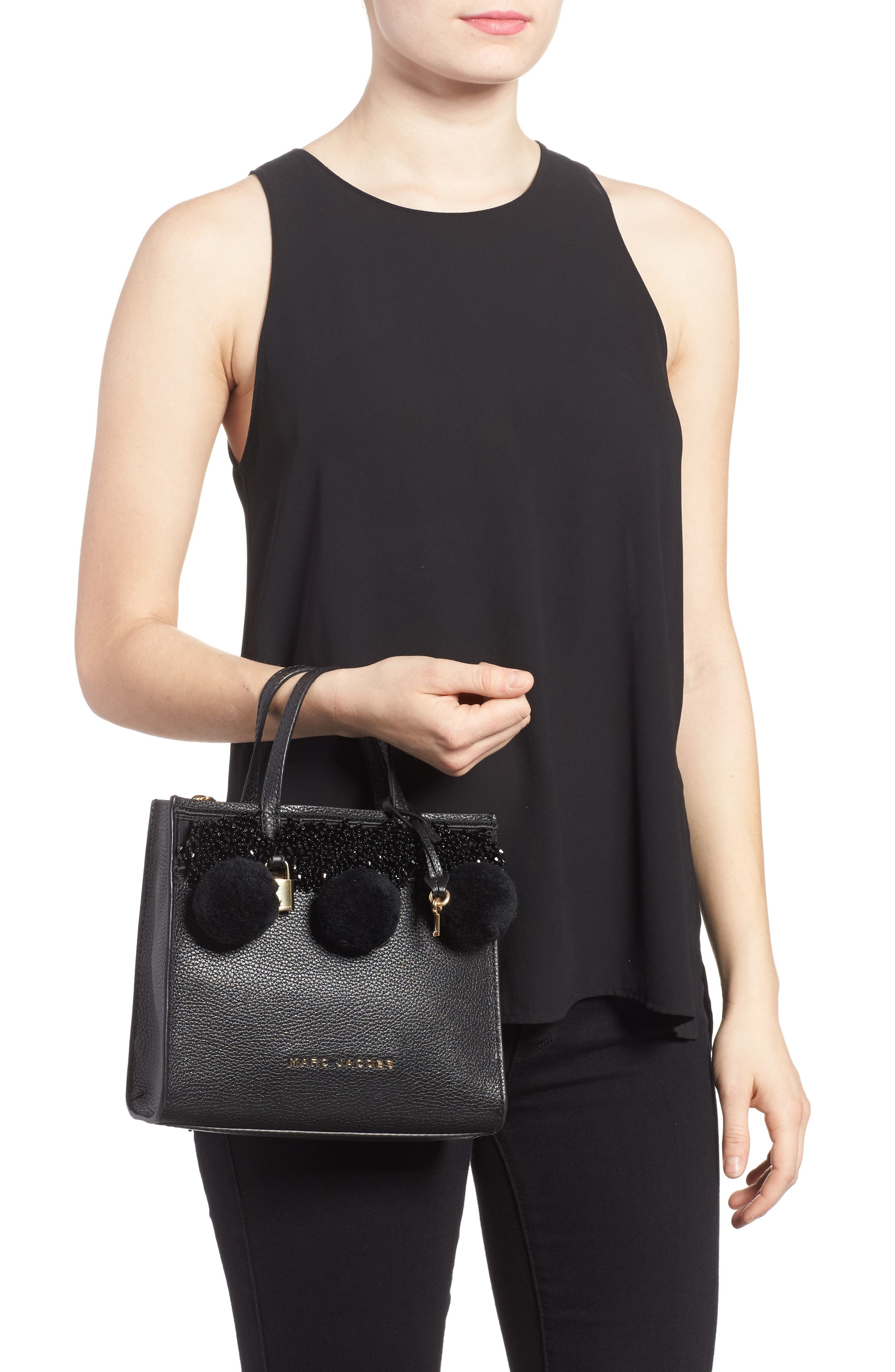 The Grind Mini Pompom Leather Tote,                             Alternate thumbnail 2, color,                             001