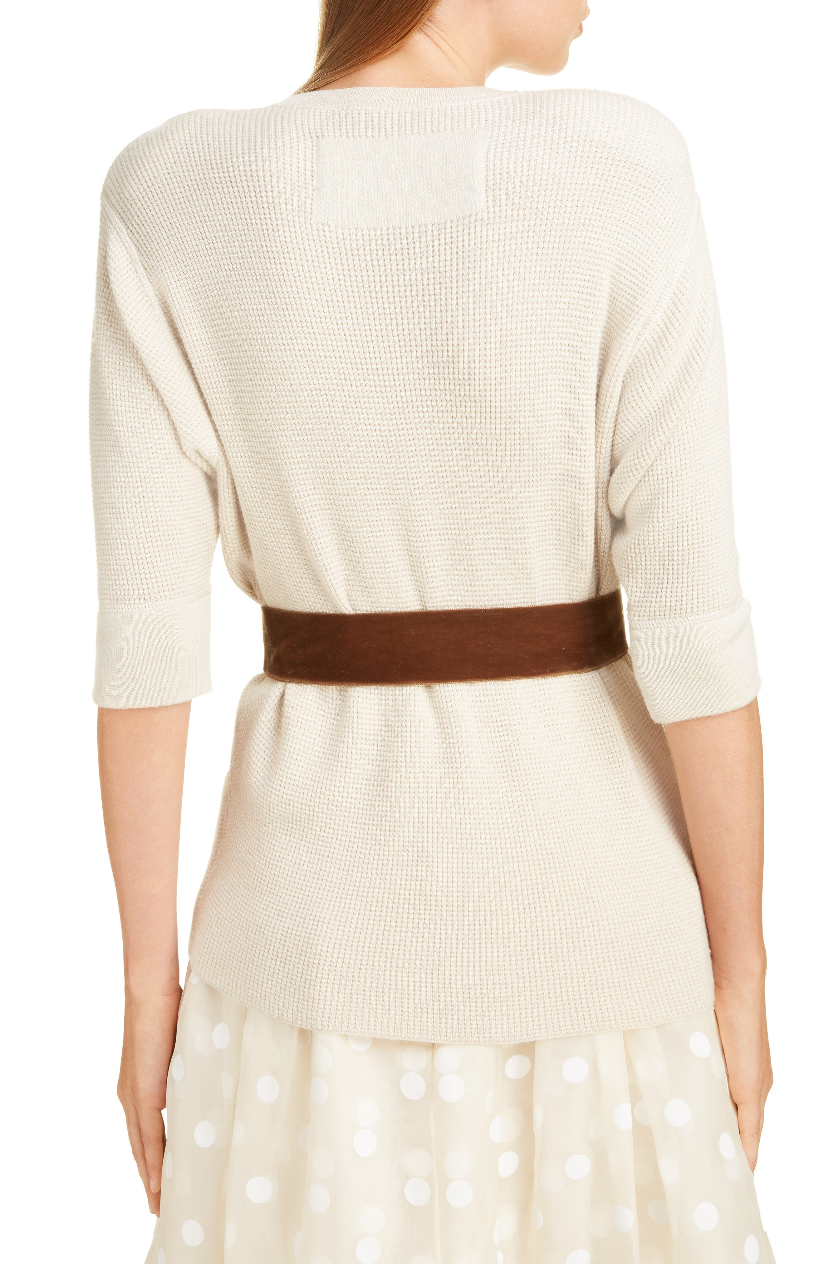 Bow Detail Cashmere & Wool Blend Thermal Sweater,                             Alternate thumbnail 2, color,                             IVORY