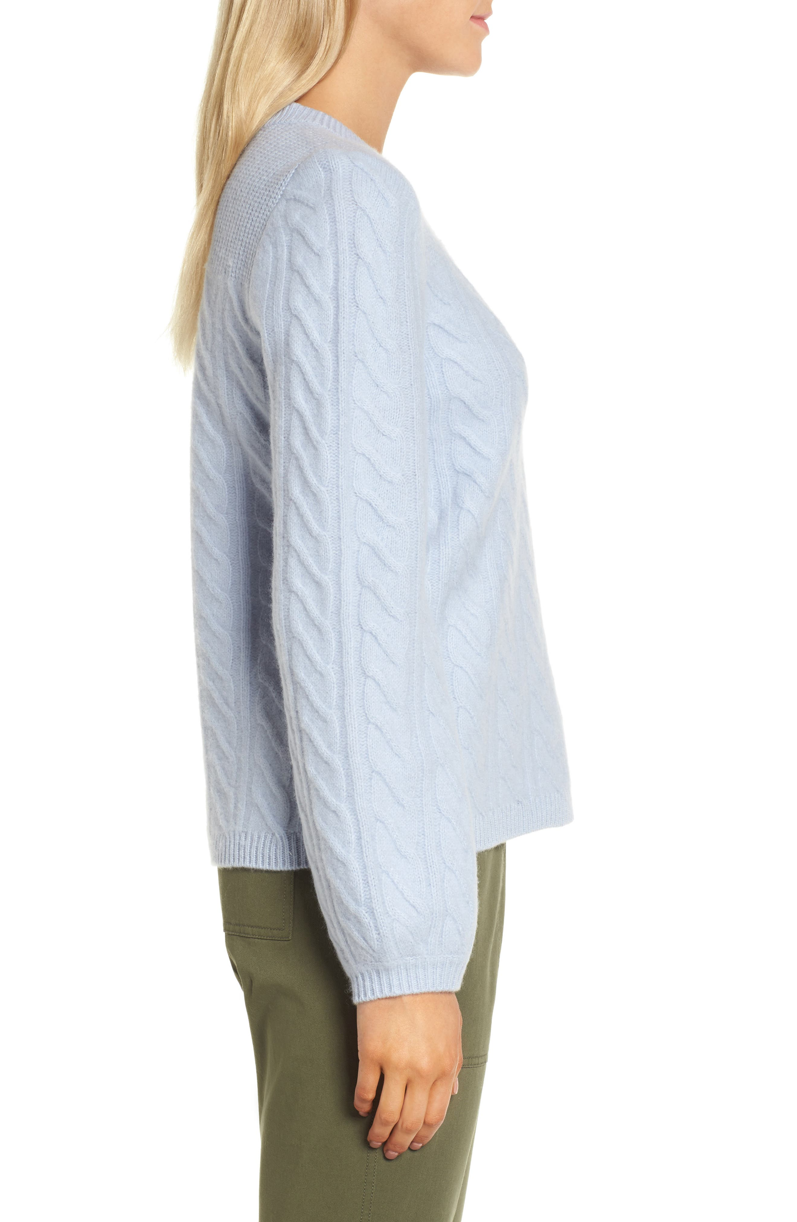 Cable Cashmere Sweater,                             Alternate thumbnail 3, color,