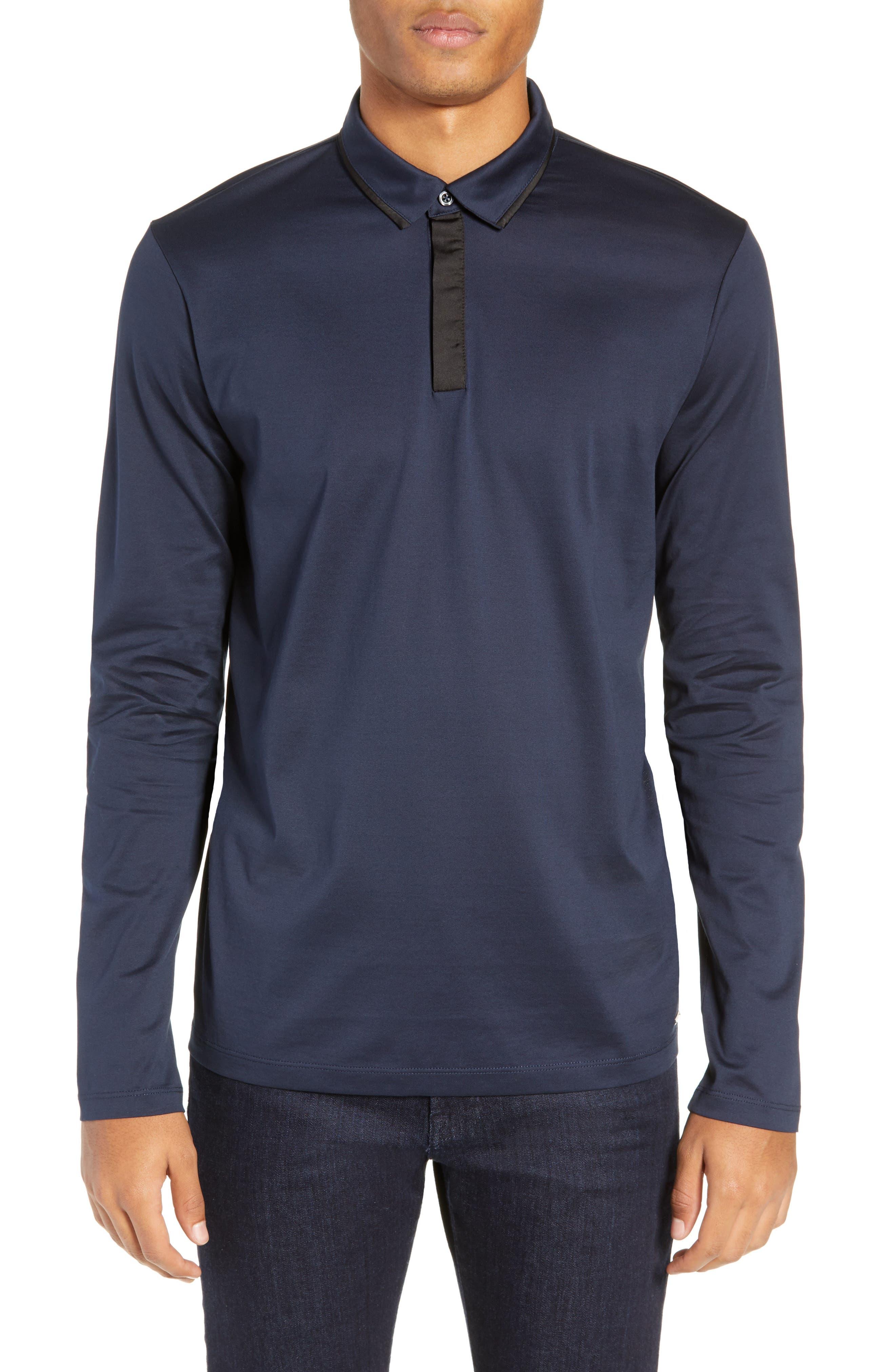 Dalendar Mercerized Cotton Slim Fit Polo Shirt,                         Main,                         color, BLUE